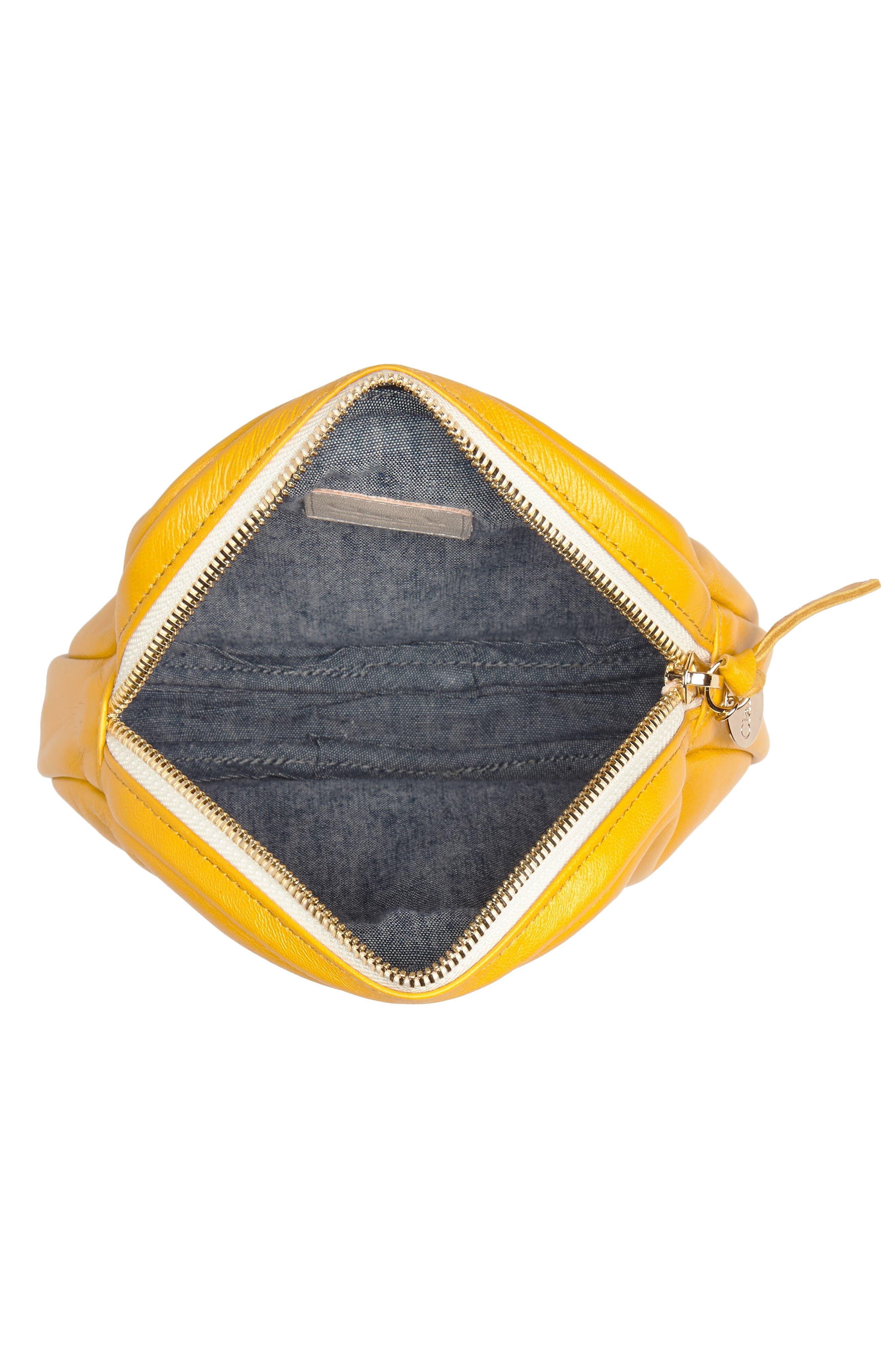 Lambskin Leather Circle Clutch,                             Alternate thumbnail 4, color,                             Yellow Golfa