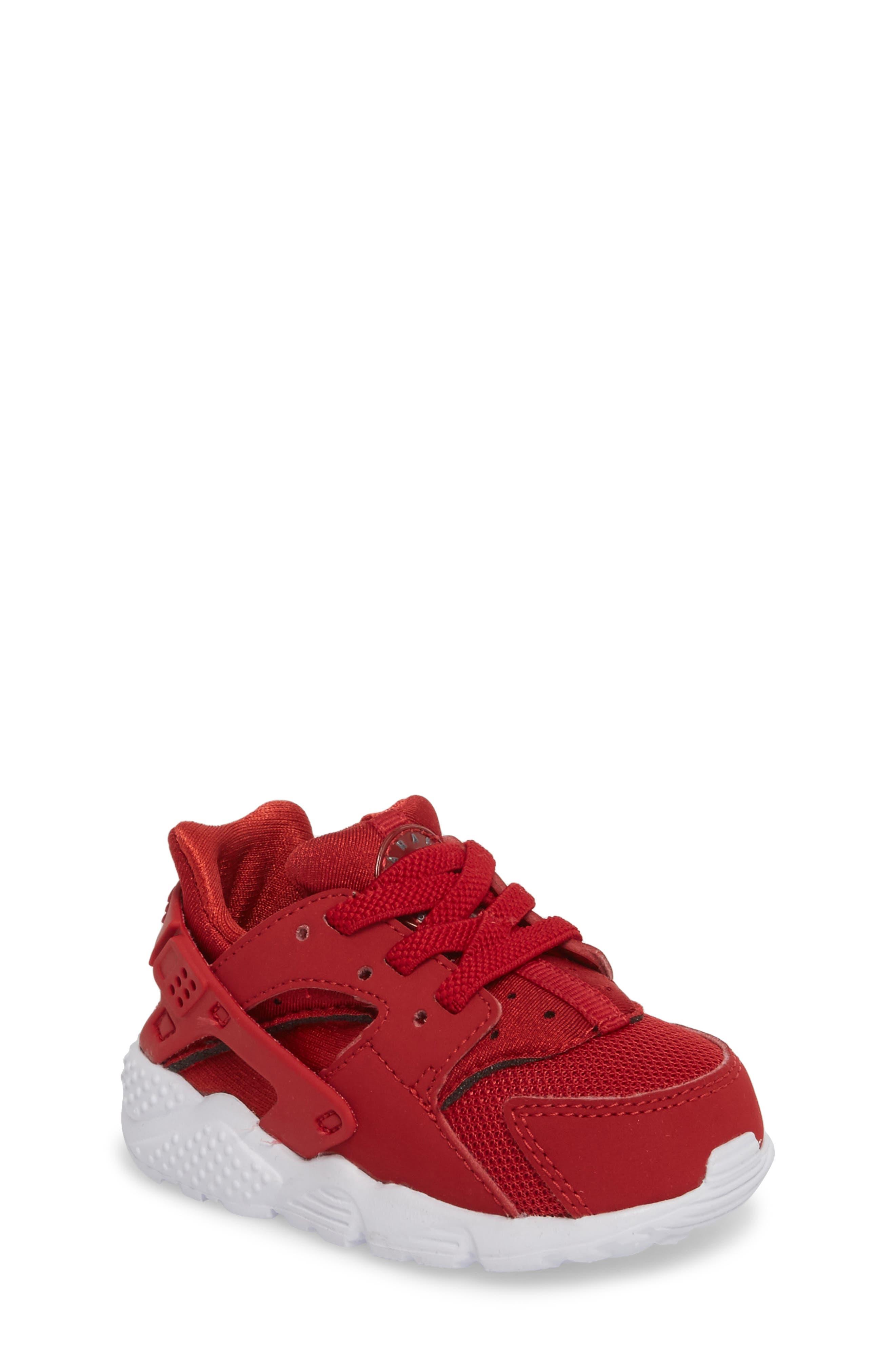 'Huarache Run' Sneaker,                             Main thumbnail 1, color,                             Gym Red/ Dark Grey/ White