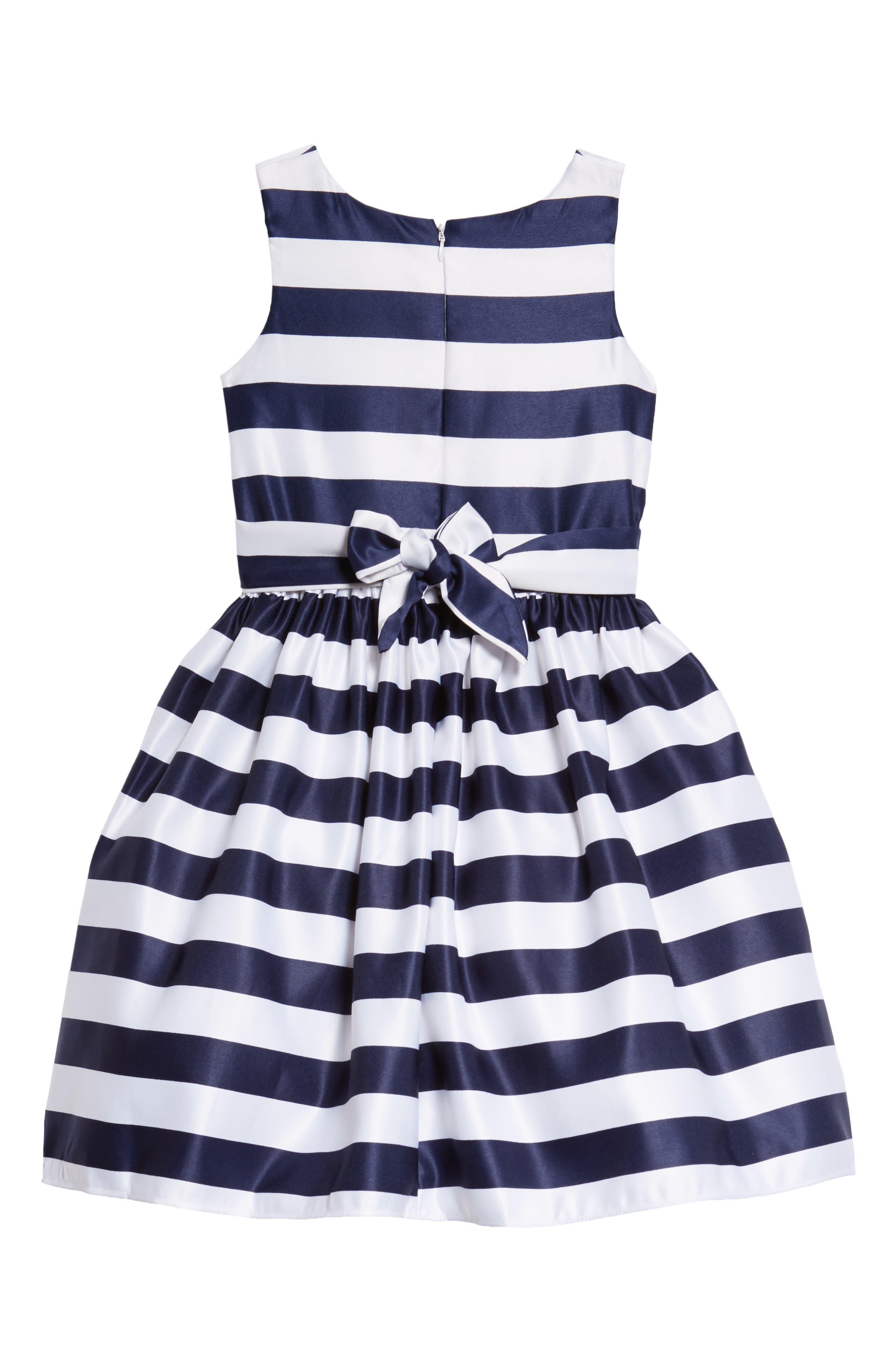 Tara Stripe Party Dress,                             Alternate thumbnail 2, color,                             White/ Navy