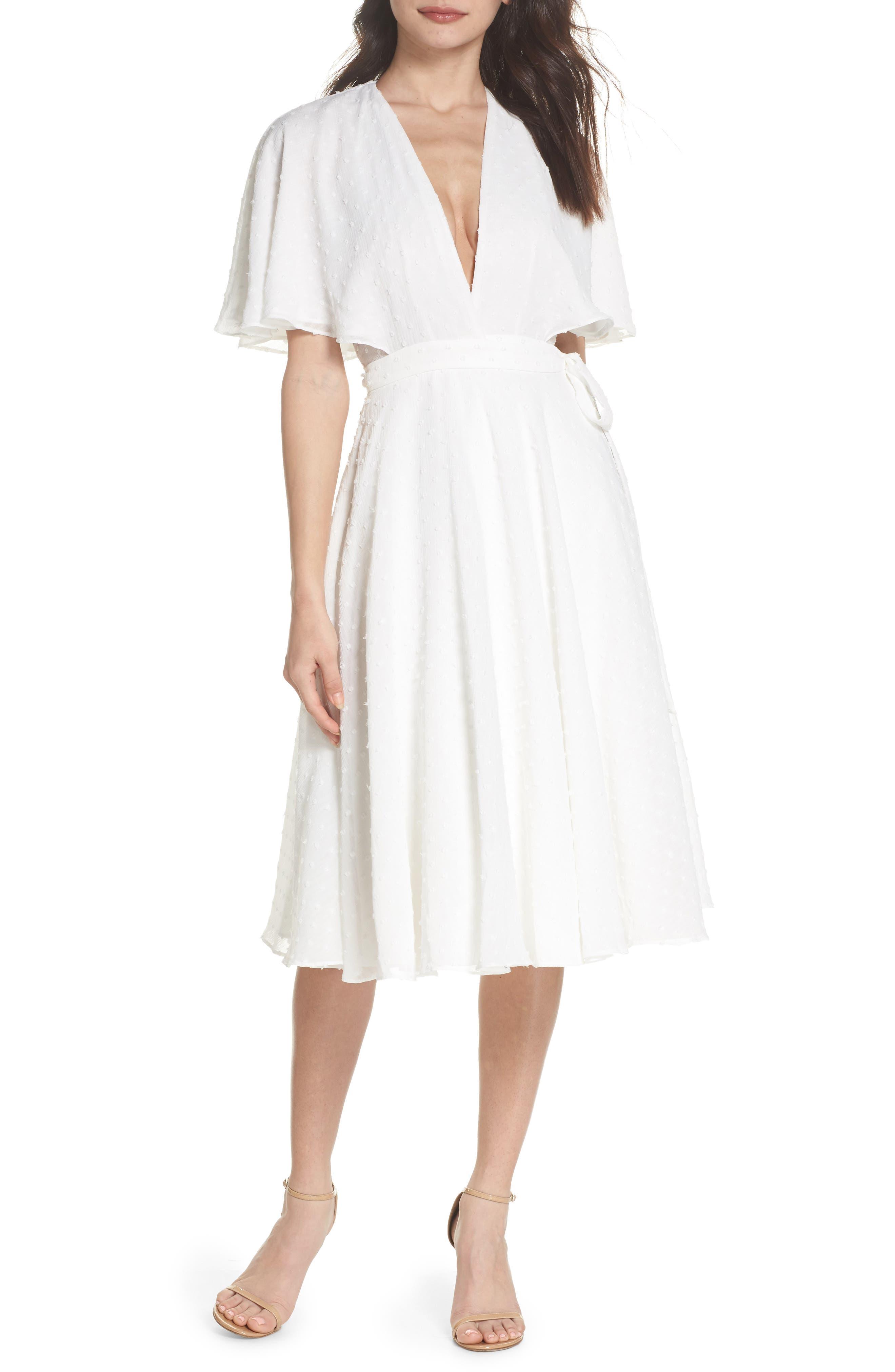 Sylvan Swiss Dot Wrap Dress,                         Main,                         color, Ivory