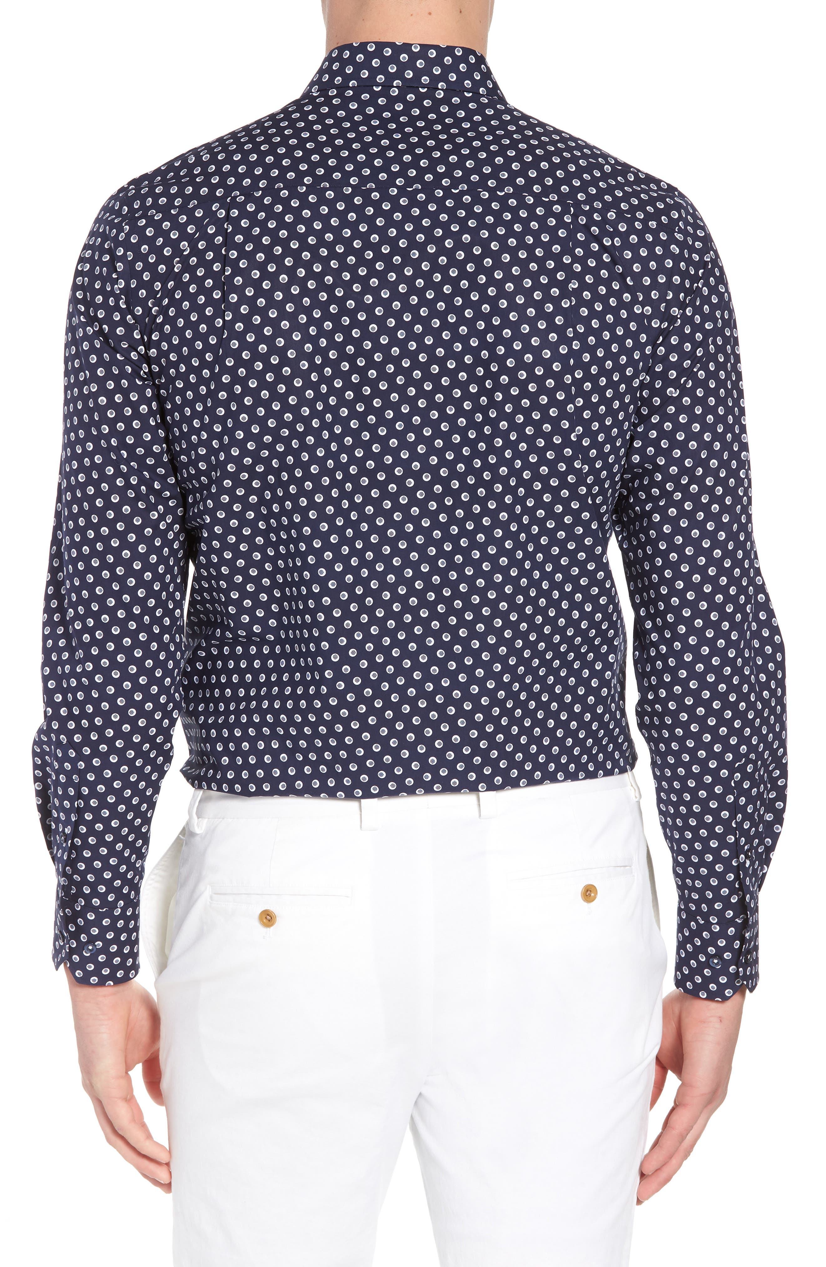 Regular Fit Dot Print Sport Shirt,                             Alternate thumbnail 2, color,                             Navy/ White