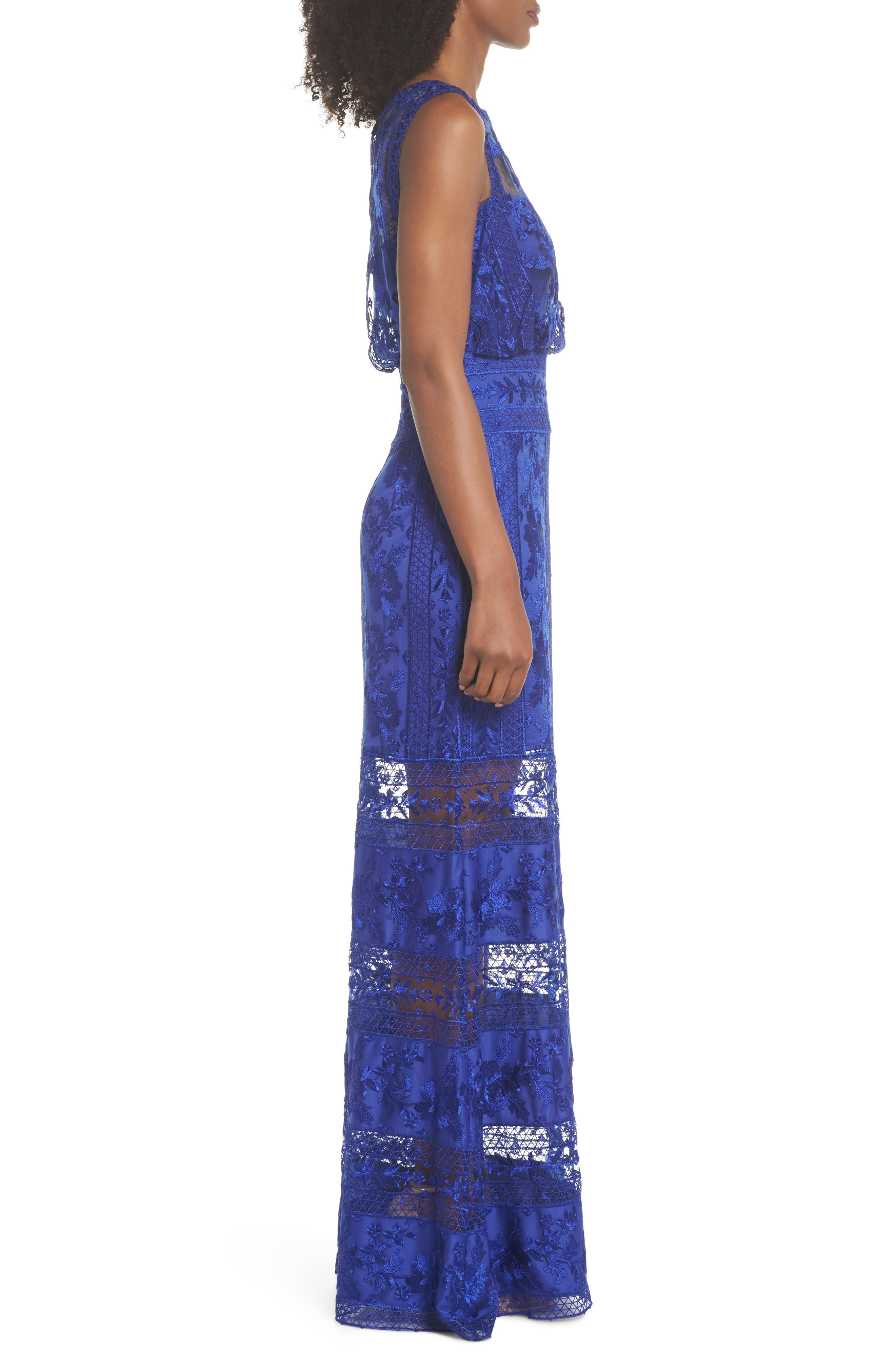 Kaisra Embroidered Lace Gown,                             Alternate thumbnail 3, color,                             Indigo