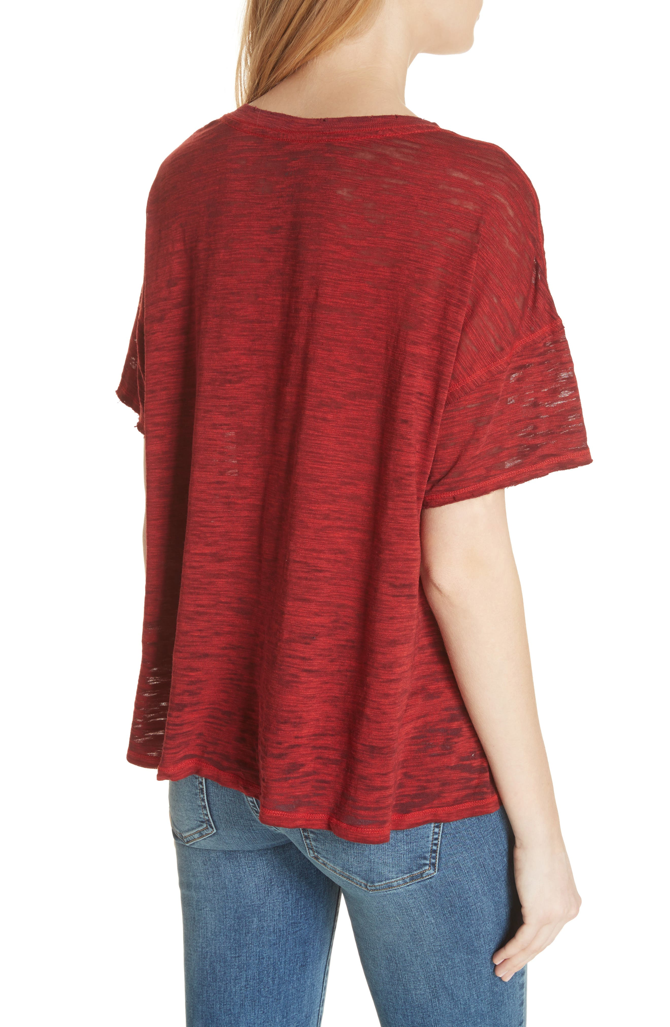 Maddie Burnout Tee,                             Alternate thumbnail 2, color,                             Red