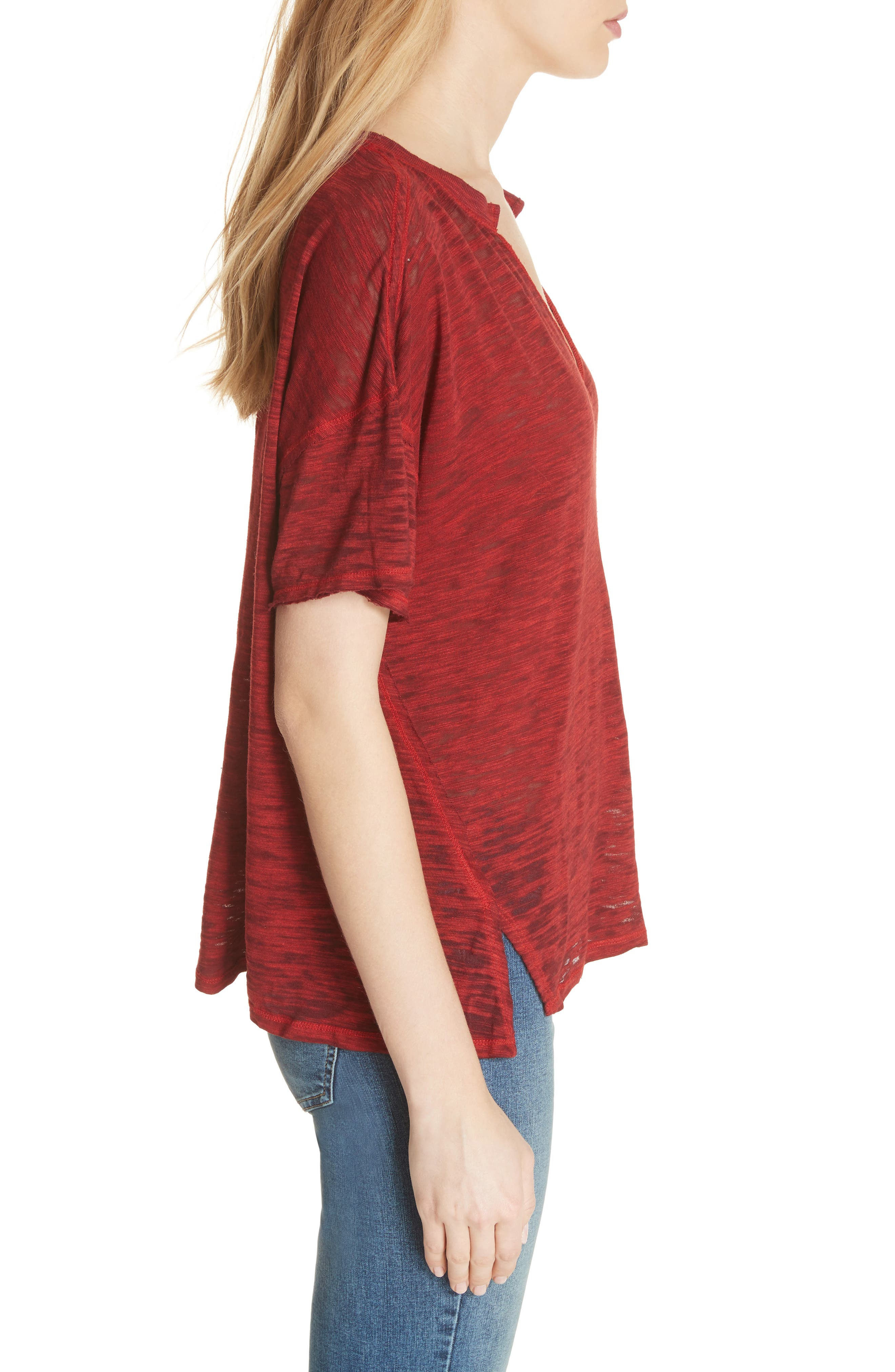 Maddie Burnout Tee,                             Alternate thumbnail 3, color,                             Red