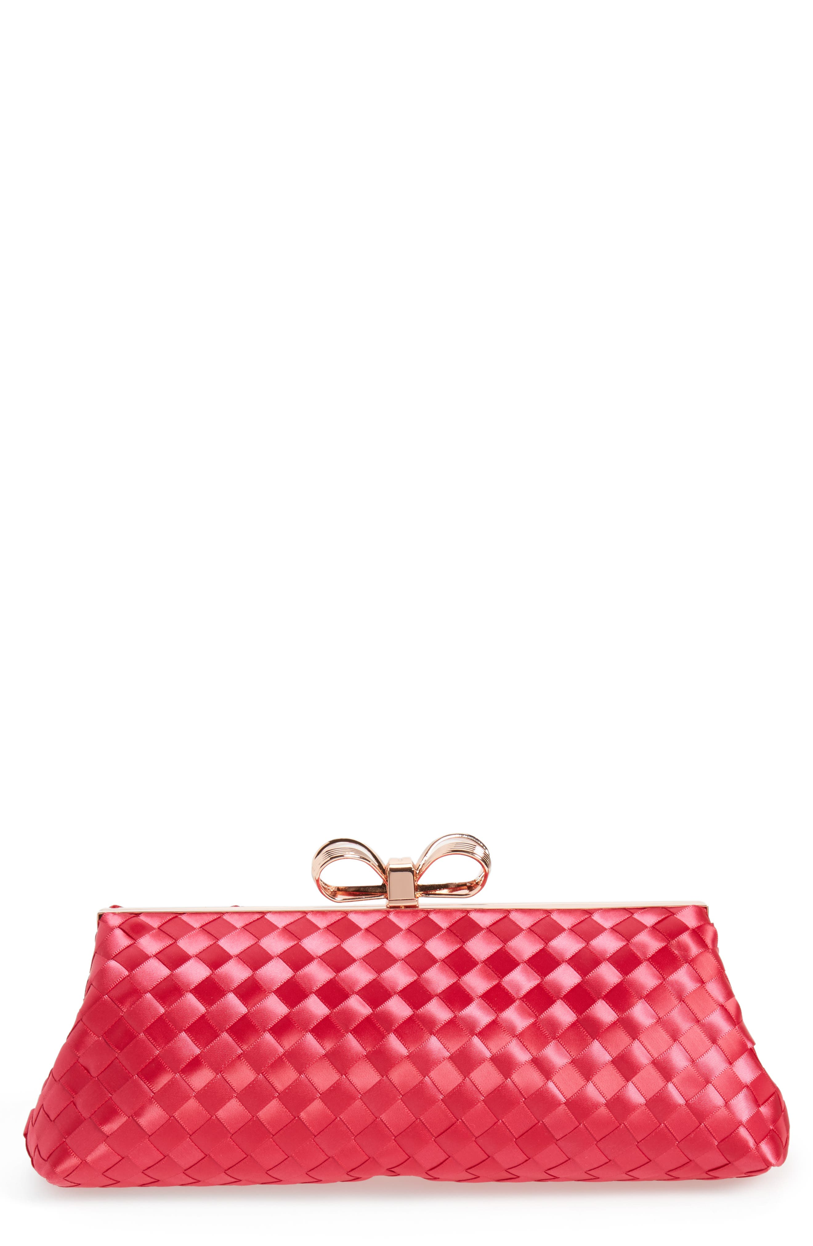 Alaina Woven Frame Clutch,                         Main,                         color, Deep Pink