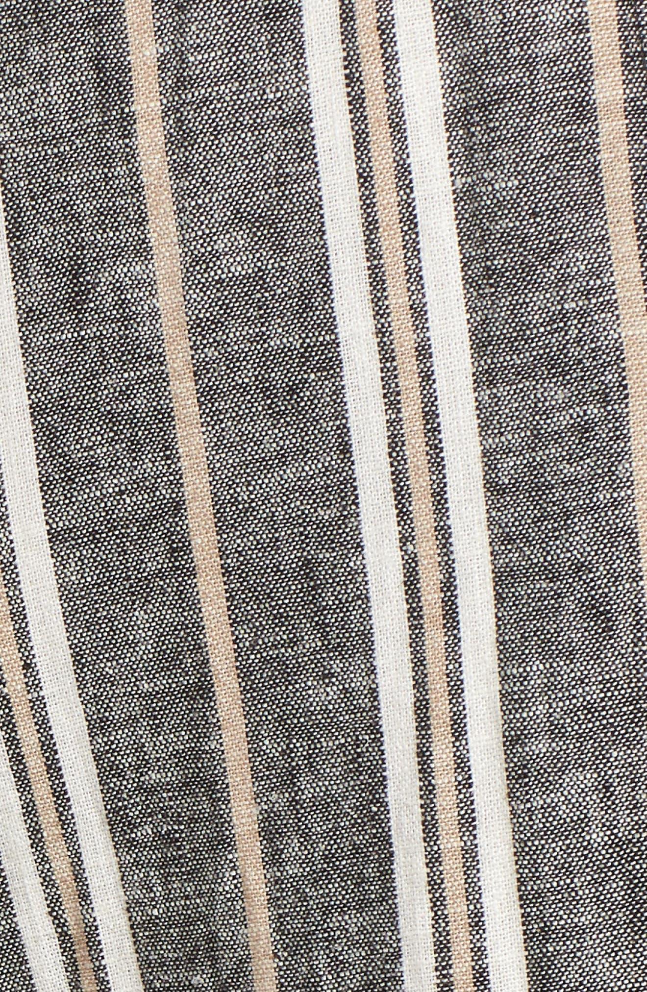 Stripe Linen Blend Pants,                             Alternate thumbnail 6, color,                             Black Betsty Stripe