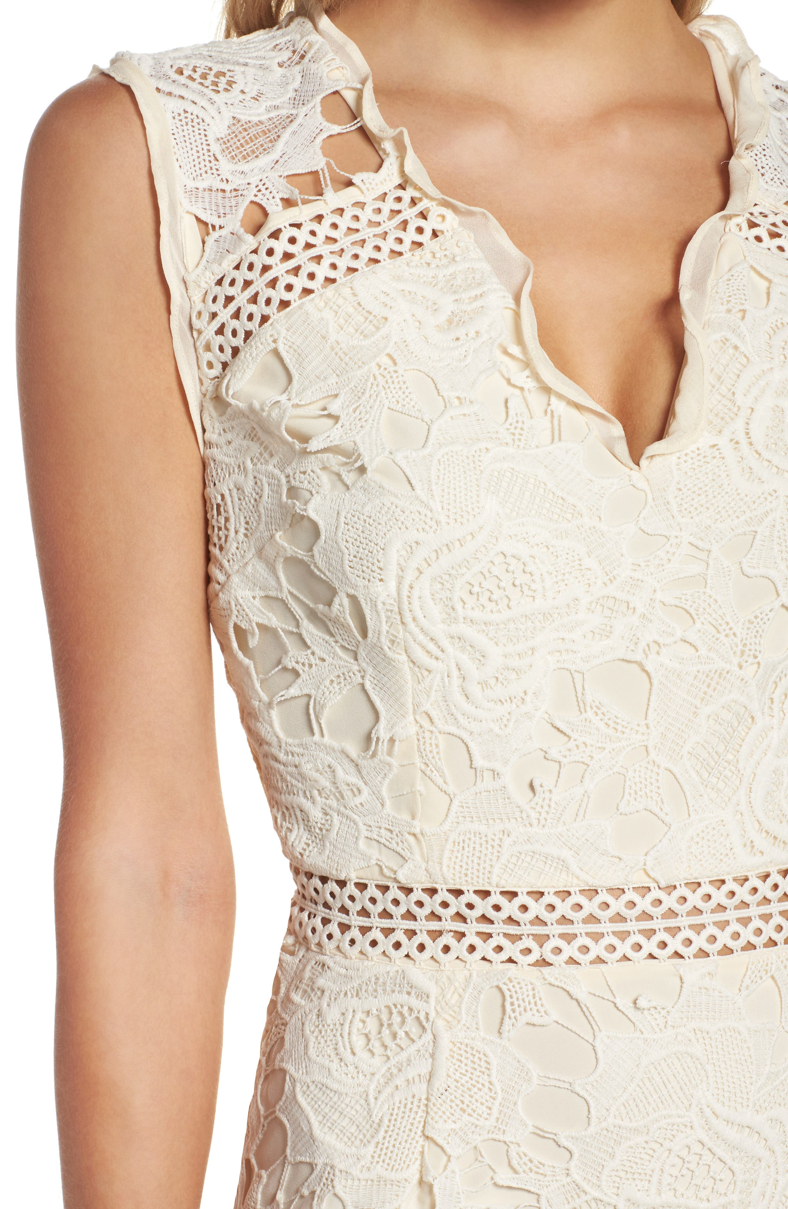 Lustrous Lace Sheath Dress,                             Alternate thumbnail 4, color,                             Coconut Milk