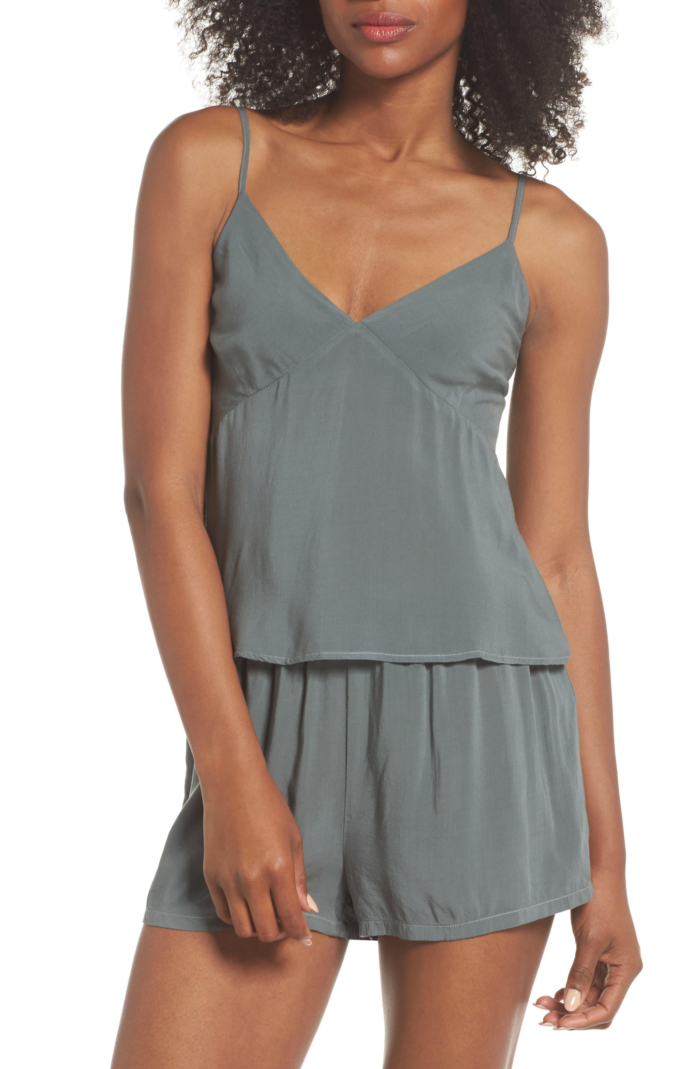 Poppy Short & Camisole Pajamas,                         Main,                         color, Sage