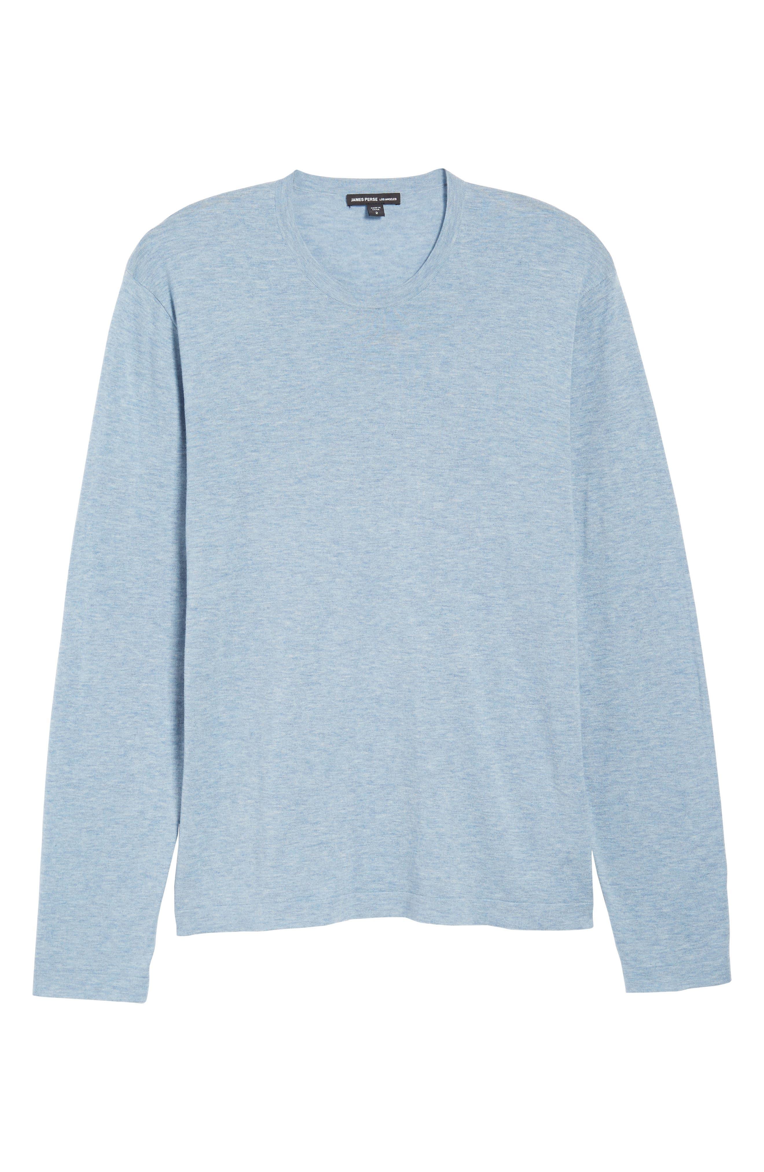 Fine Gauge Crewneck Sweater,                             Alternate thumbnail 6, color,                             Heather Sky Blue