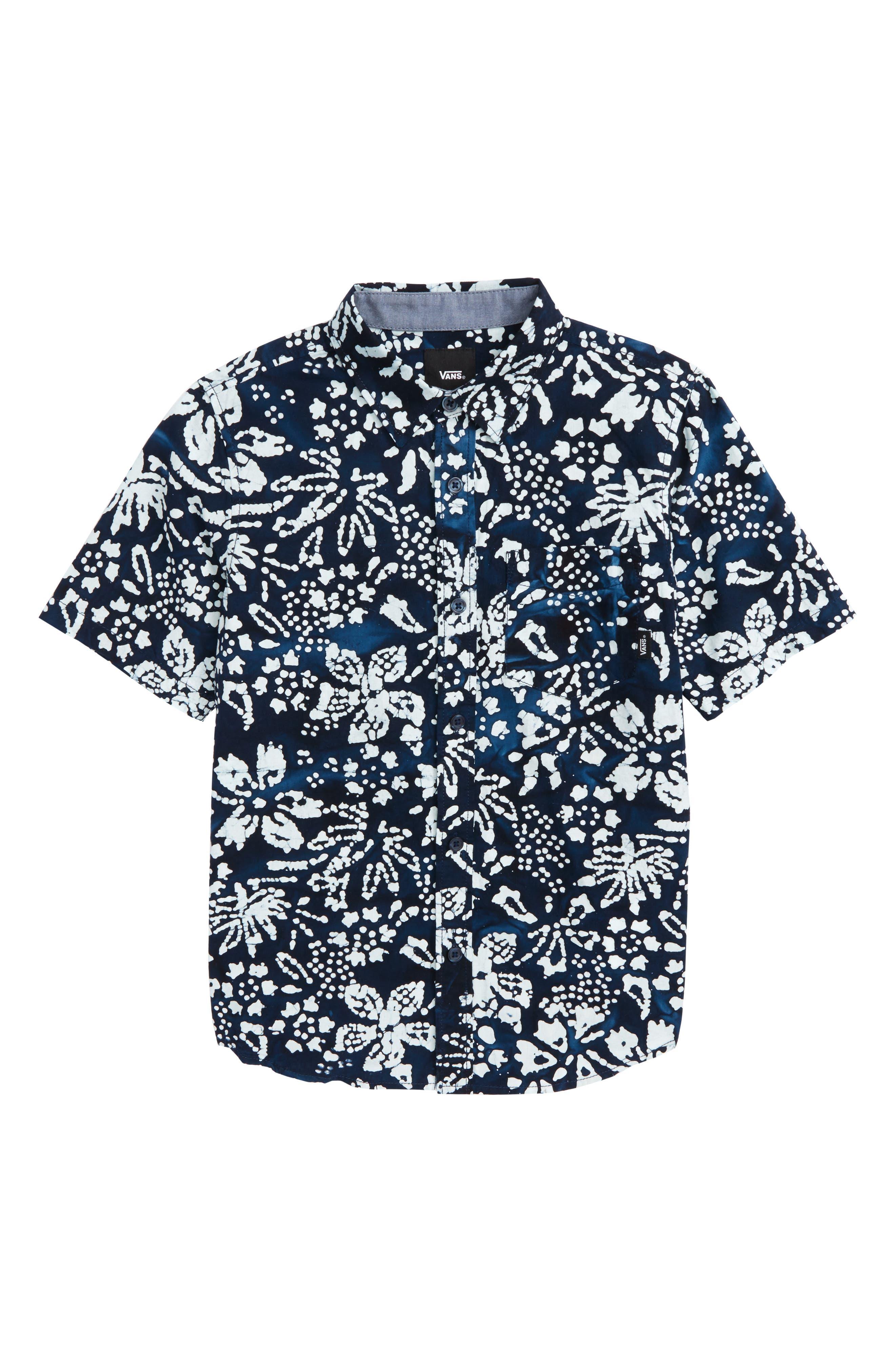 Trippin Batik Print Woven Shirt,                             Main thumbnail 1, color,                             Trippin Dress Blues