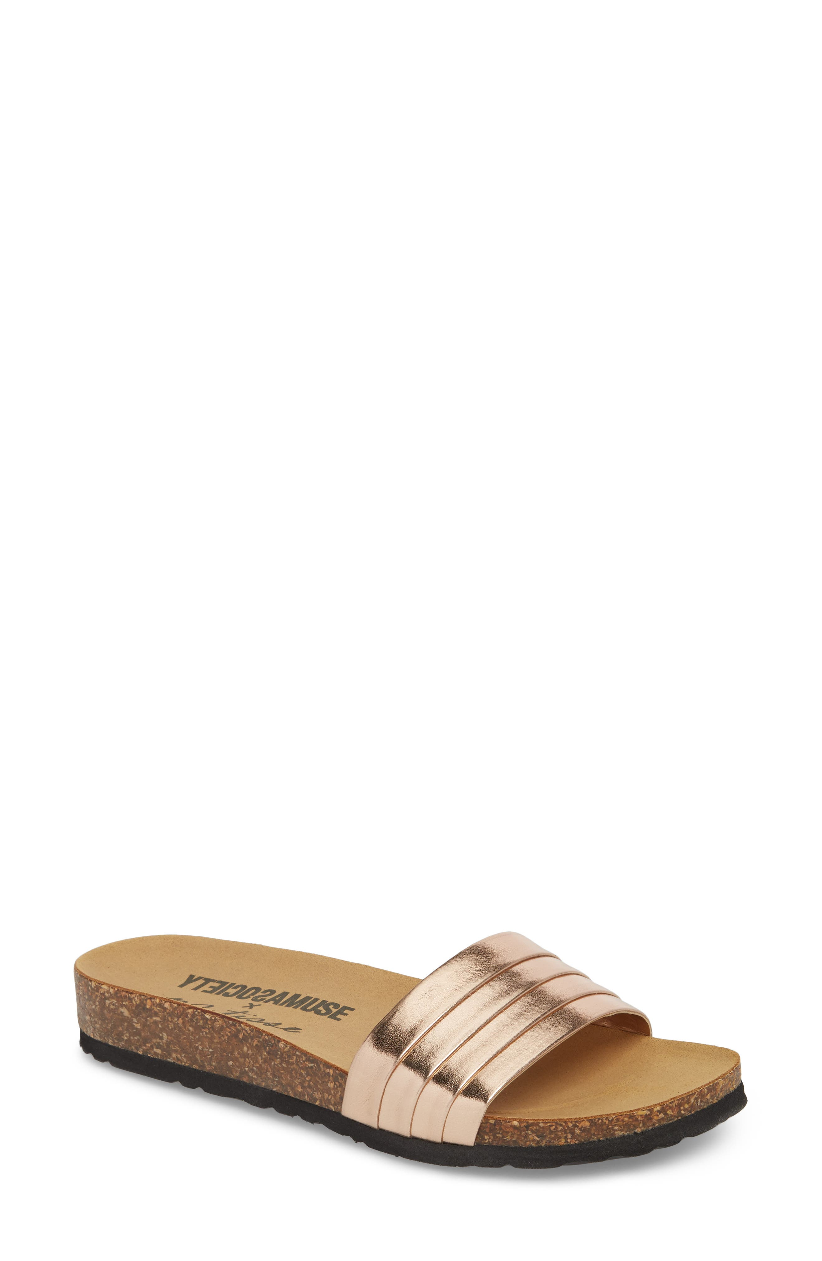 Santos Slide Sandal,                         Main,                         color, Rose Gold Faux Leather
