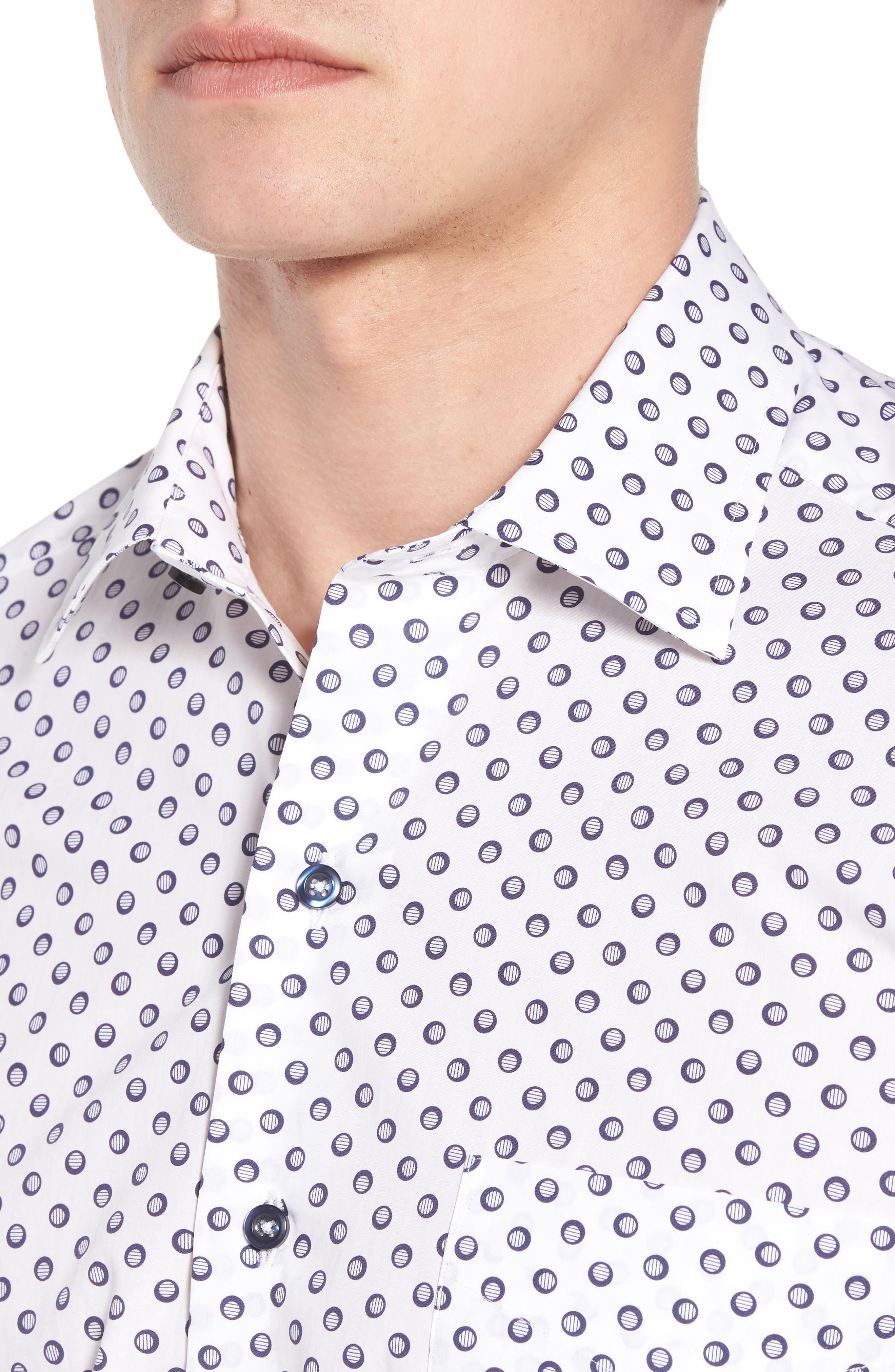 Regular Fit Dot Print Sport Shirt,                             Alternate thumbnail 4, color,                             White/ Navy