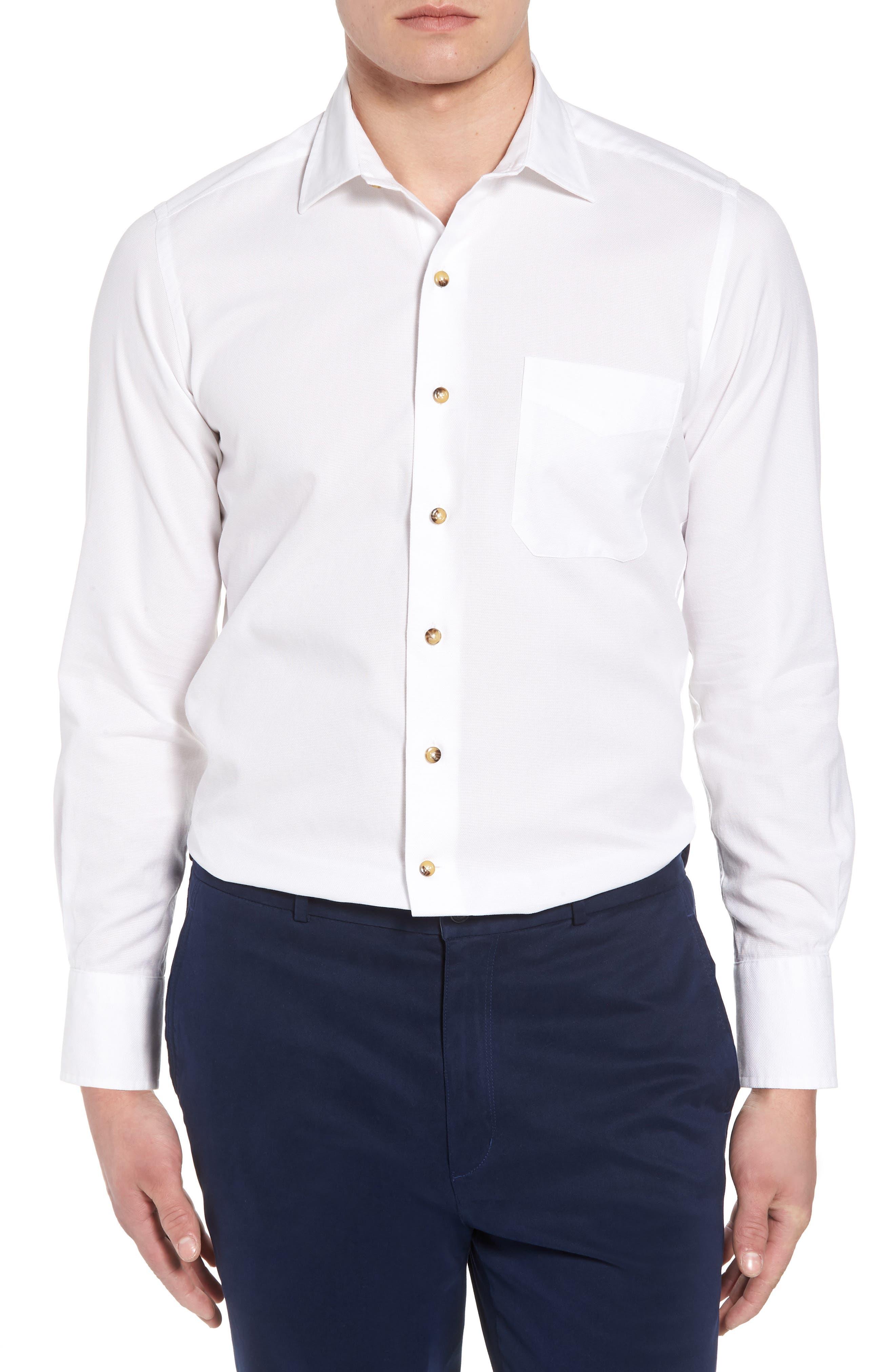 Regular Fit Garment Washed Sport Shirt,                         Main,                         color, White