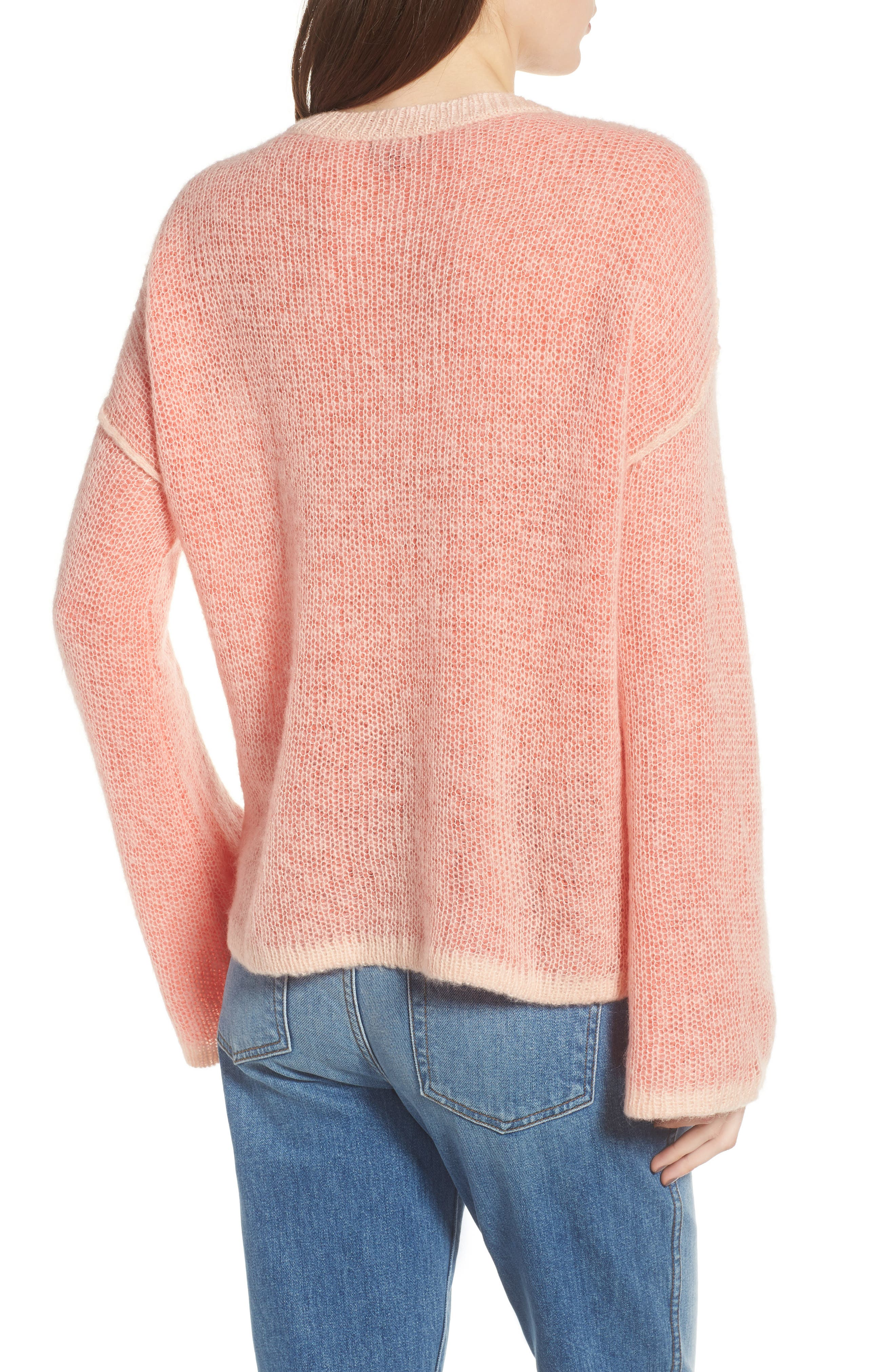 Bell Sleeve Sweater,                             Alternate thumbnail 2, color,                             Pink