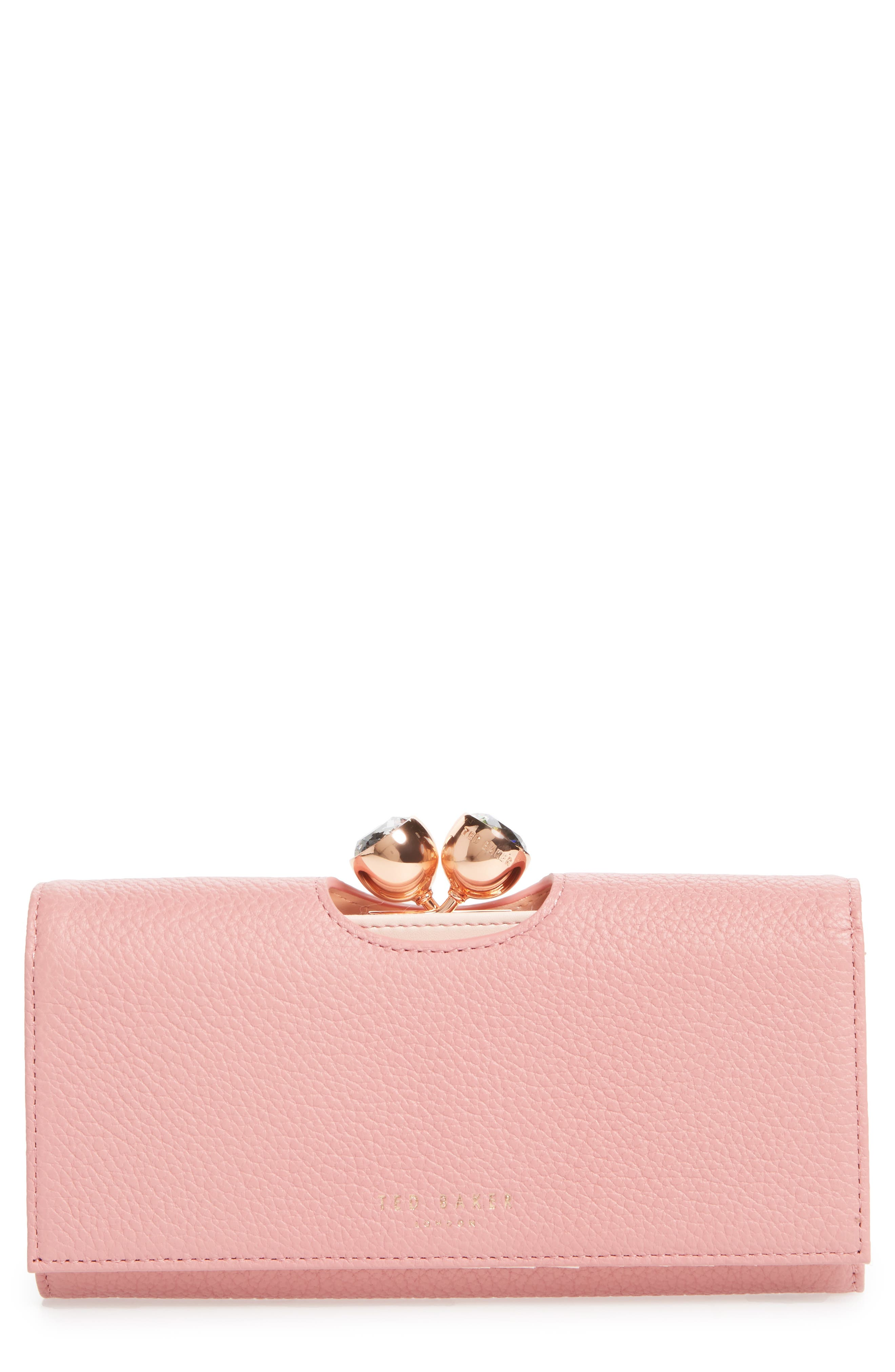 Tammyy Pebbled Leather Matinée Wallet,                         Main,                         color, Pink