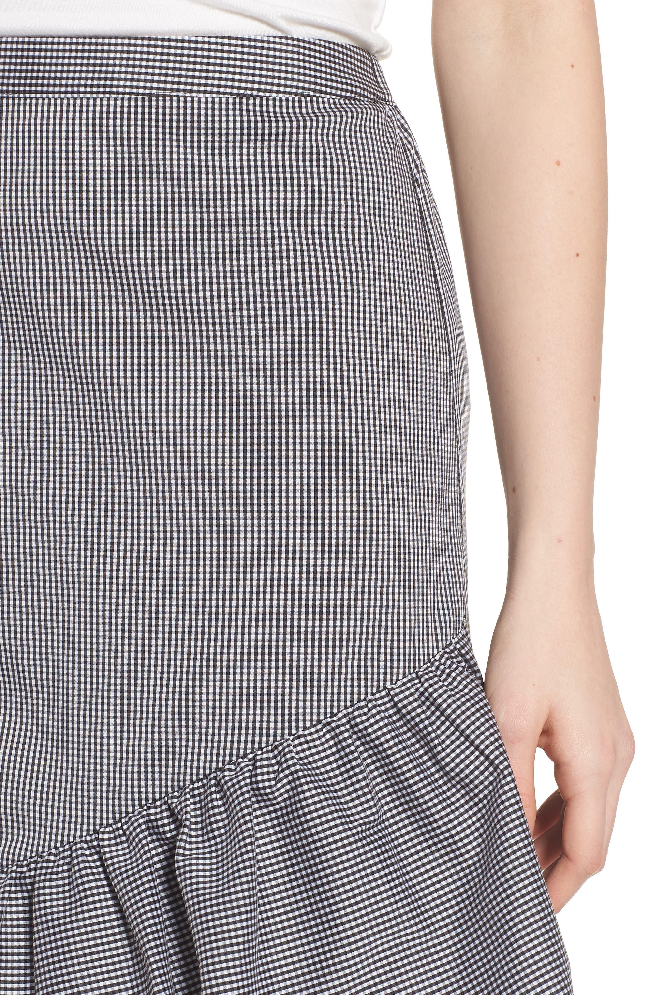 Gingham Ruffle Skirt,                             Alternate thumbnail 4, color,                             Black- White Mini Gingham