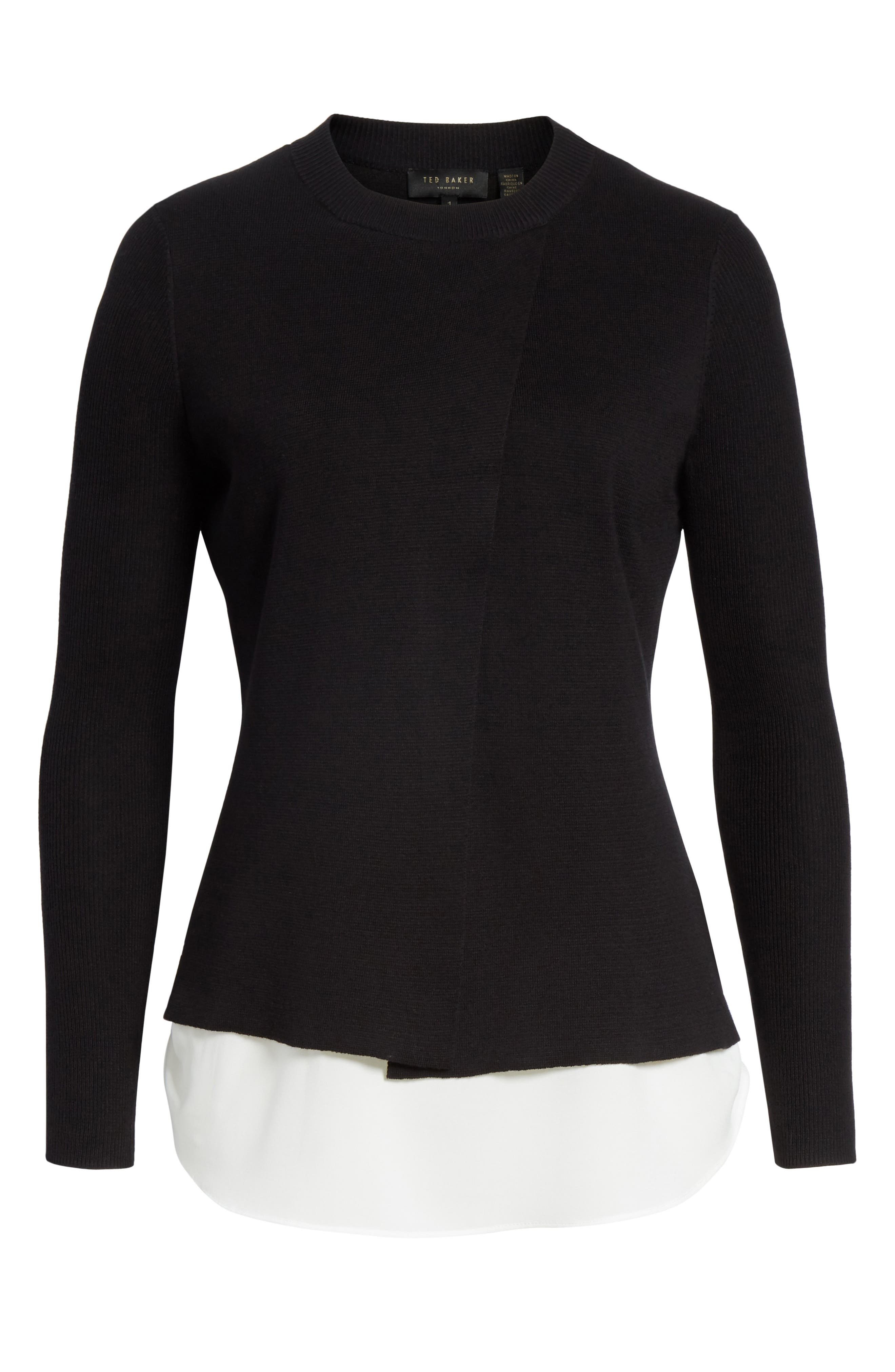 Mock Two-Piece Sweater,                             Alternate thumbnail 6, color,                             Black
