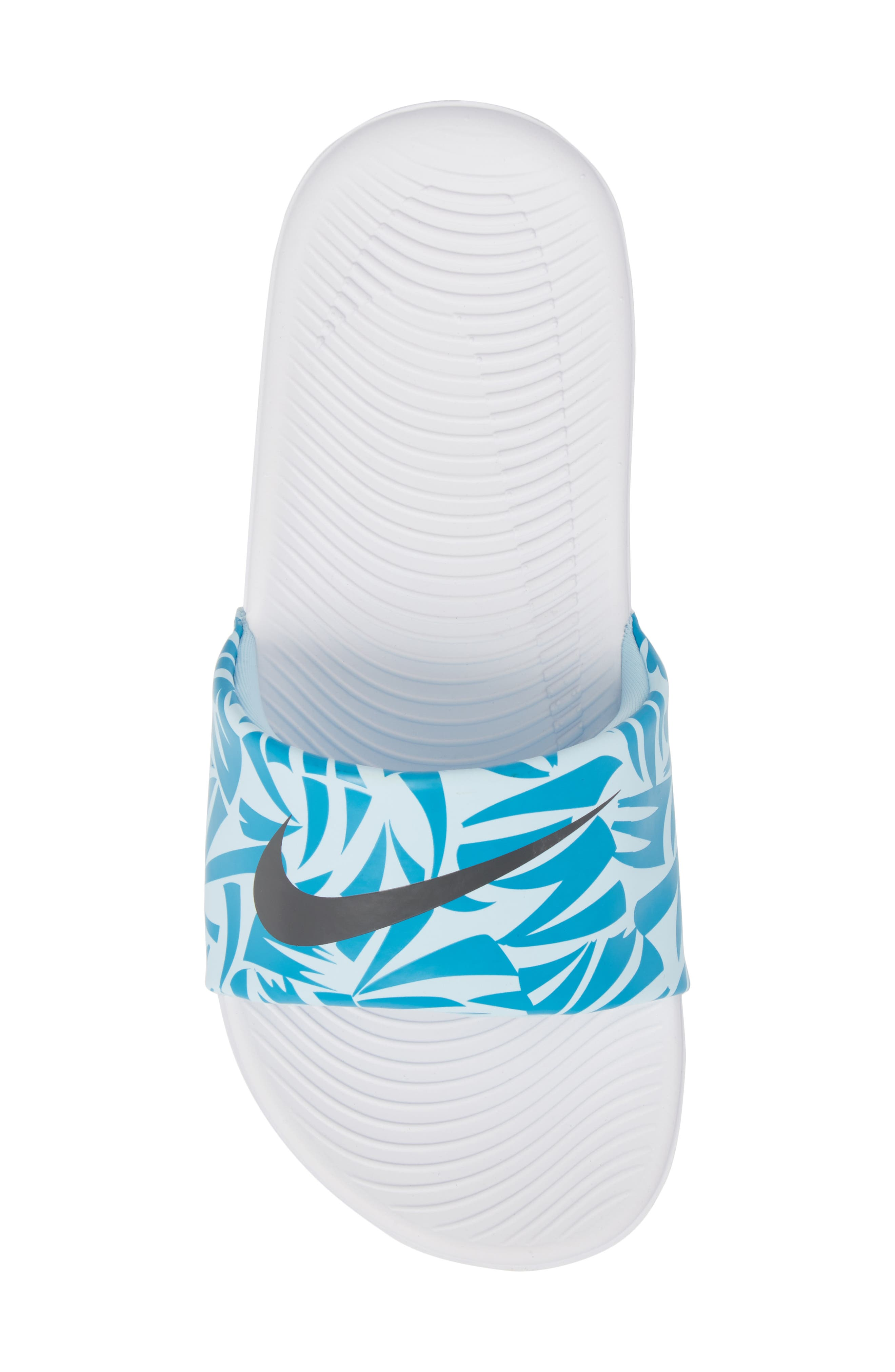 'Kawa' Print Slide Sandal,                             Alternate thumbnail 5, color,                             White/ Anthracite/ Turquoise