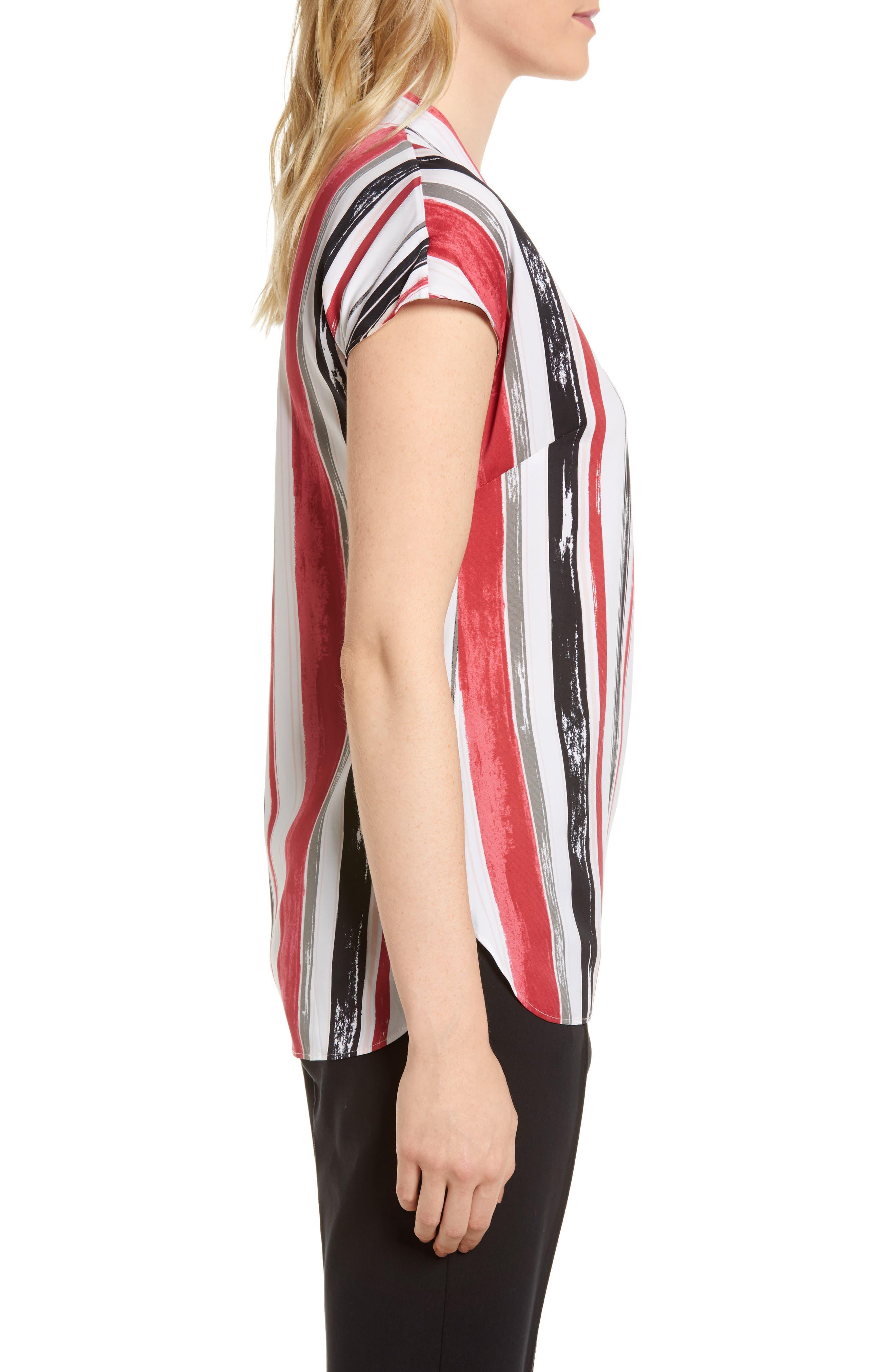 Short Sleeve Stripe Stretch Silk Blouse,                             Alternate thumbnail 3, color,                             Ivory- Pink Multi Stripe