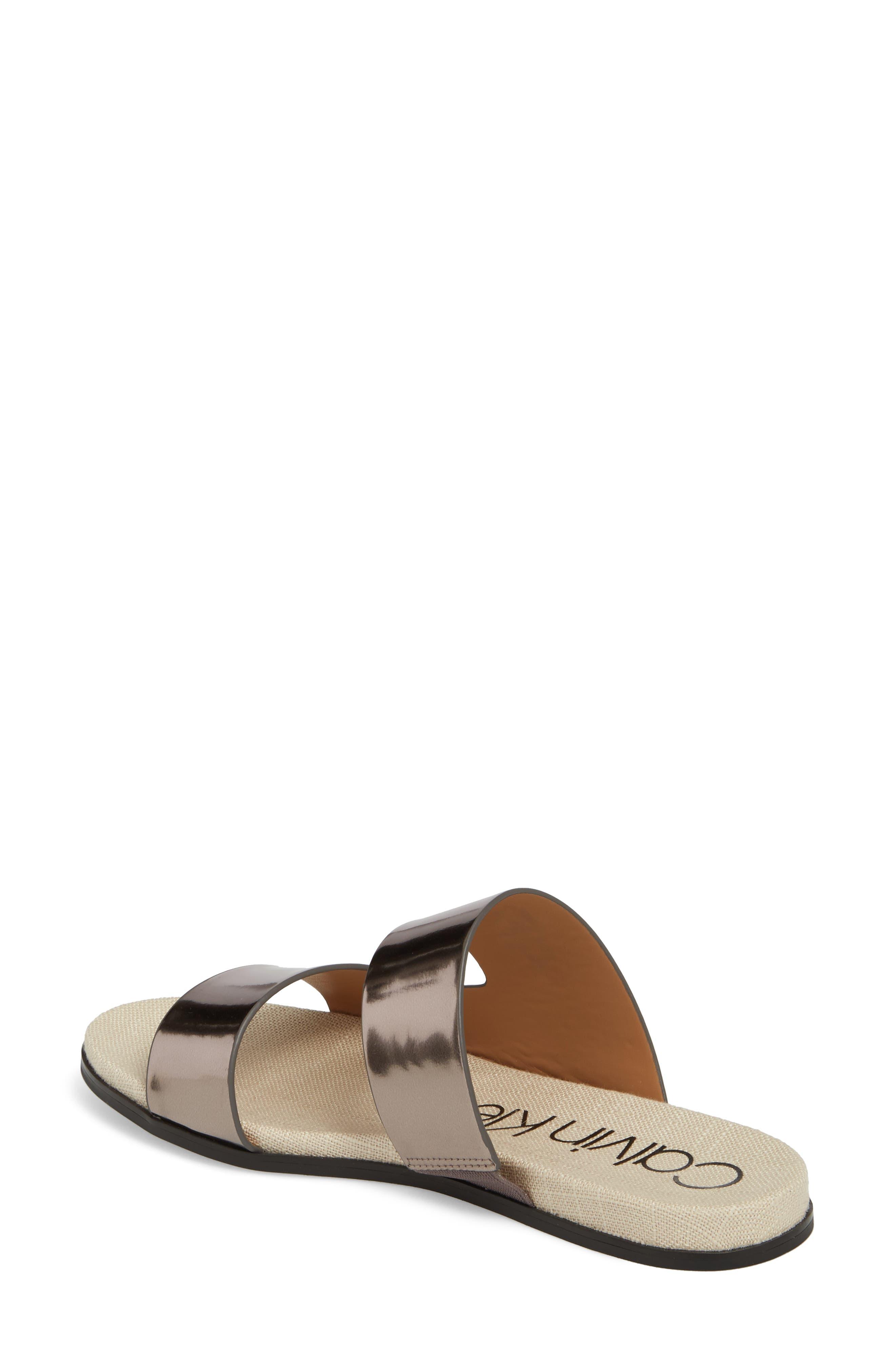 Posey Slide Sandal,                             Alternate thumbnail 2, color,                             Pewter Leather