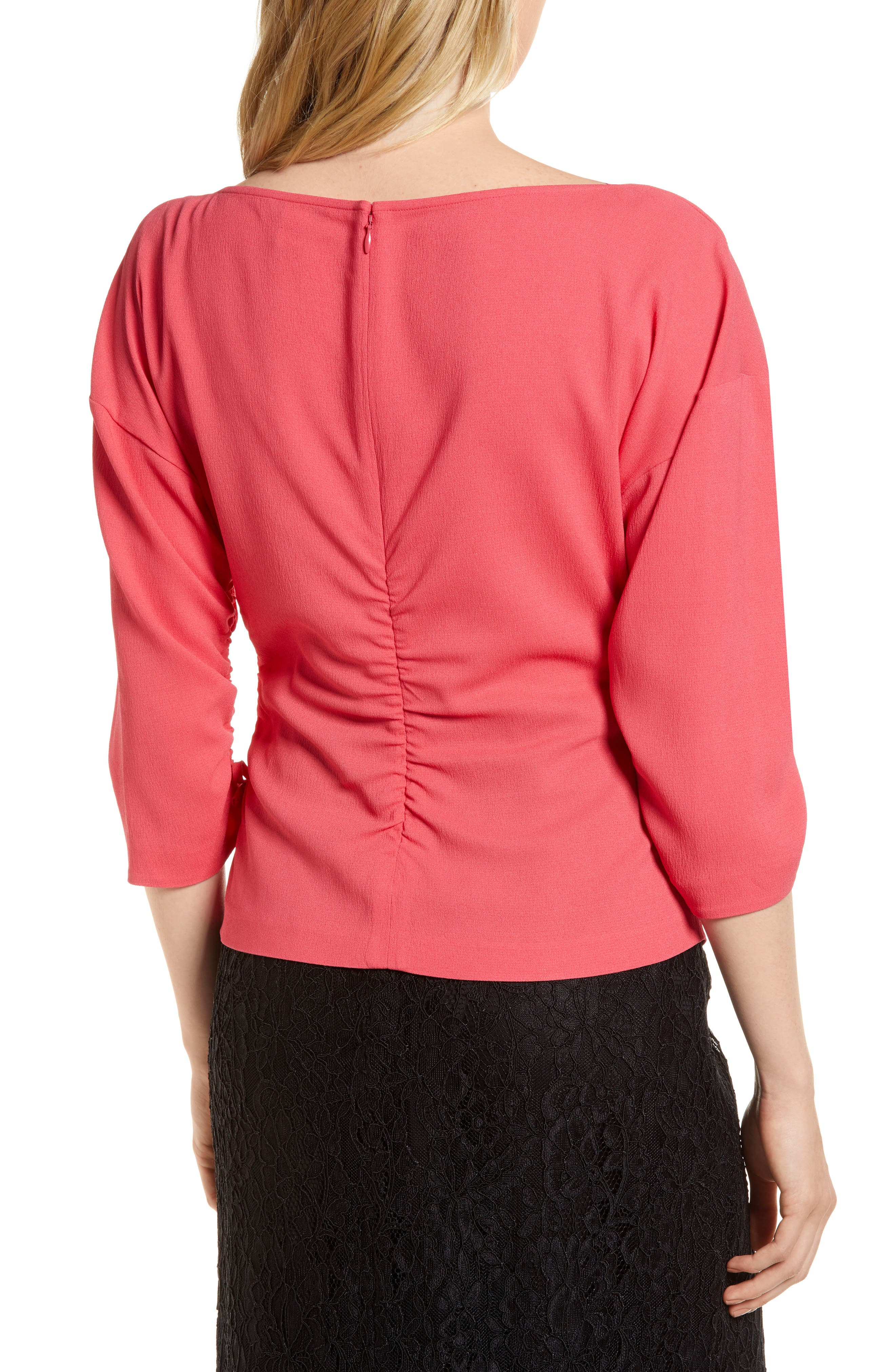 Ruched Crepe Top,                             Alternate thumbnail 2, color,                             Pink Honey