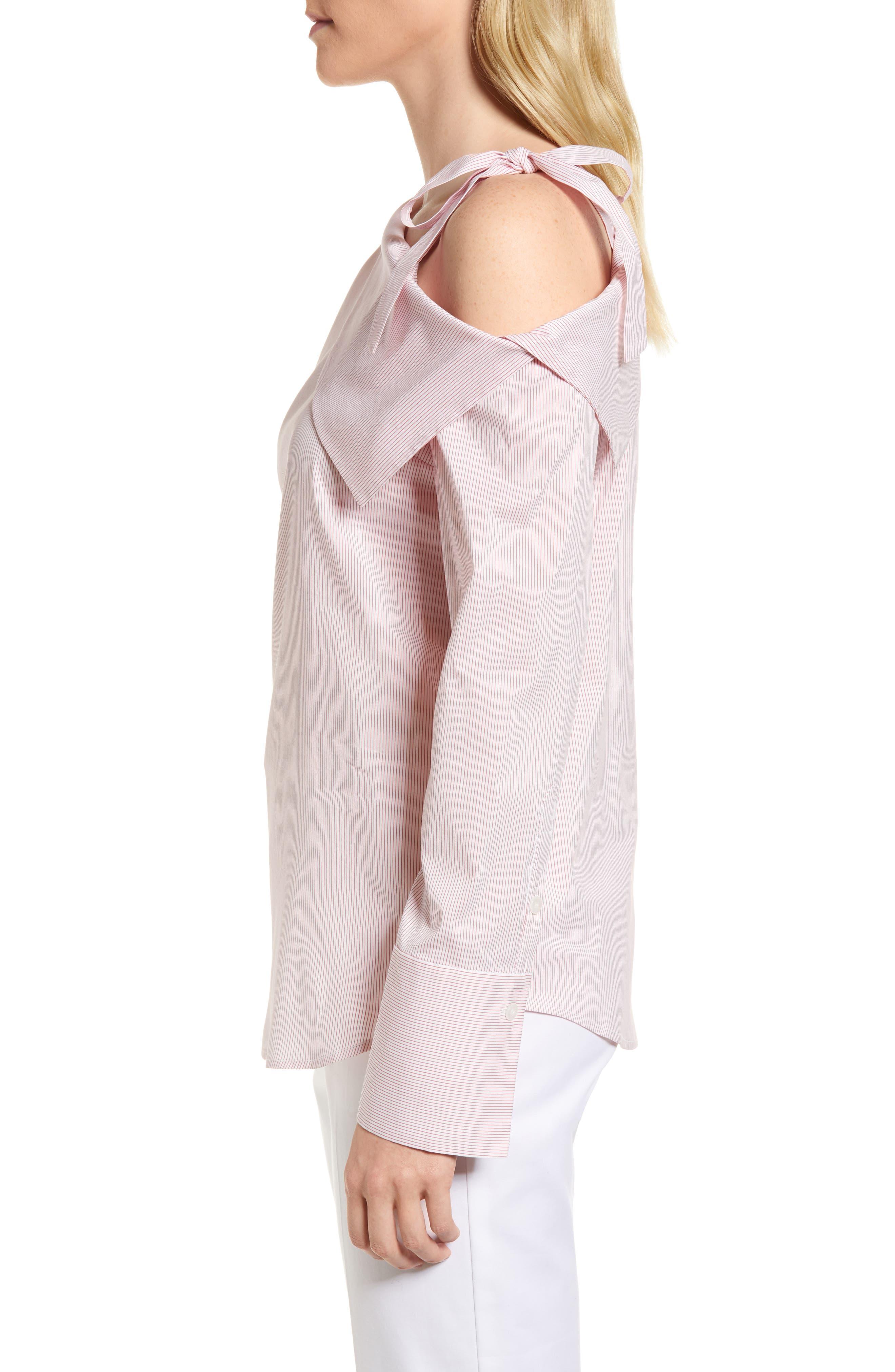 One-Shoulder Shirt,                             Alternate thumbnail 3, color,                             Pink Honey Chic Stripe