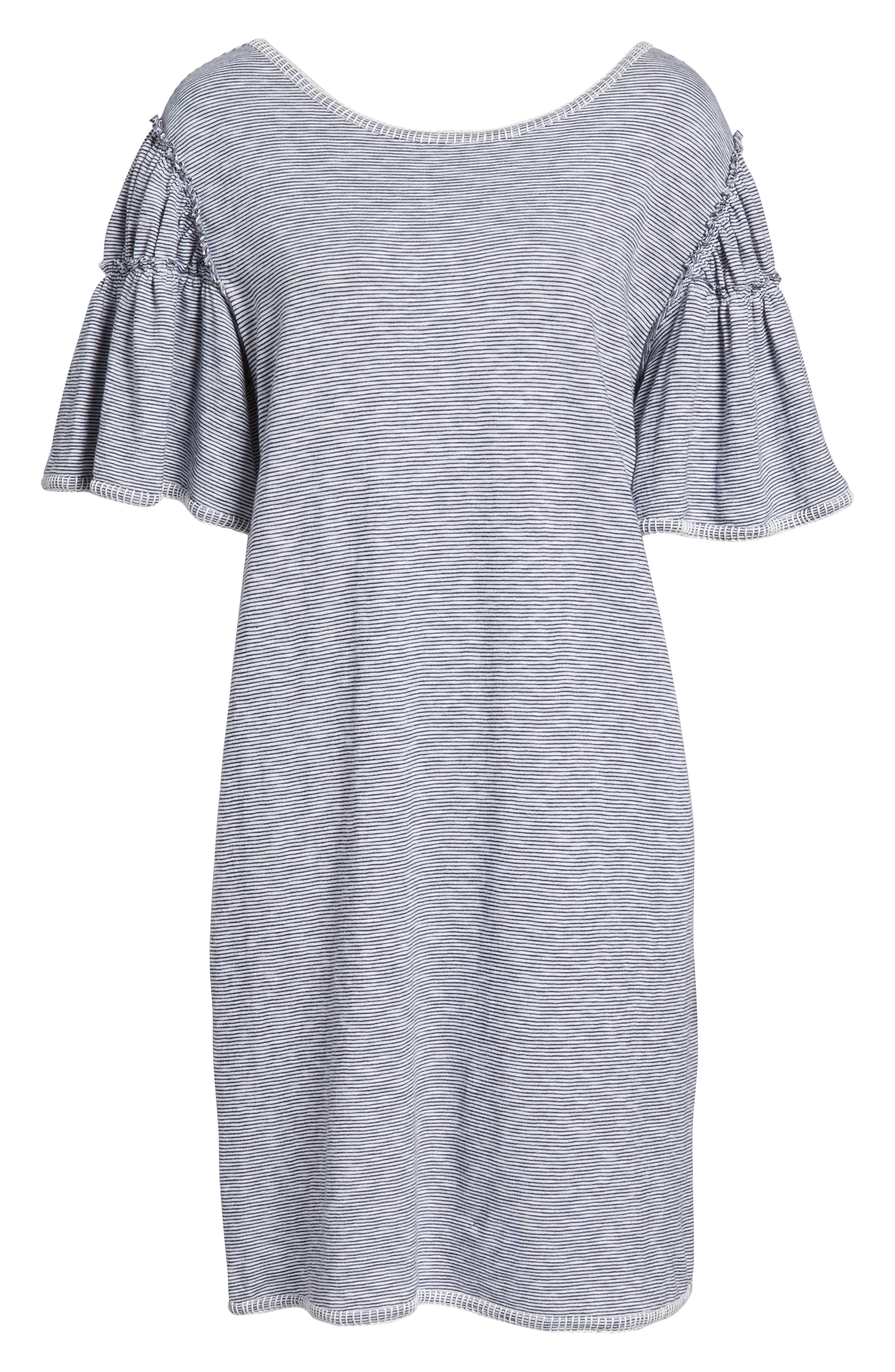 Flounce Sleeve Knit Dress,                             Alternate thumbnail 6, color,                             White- Navy Nicole Stripe