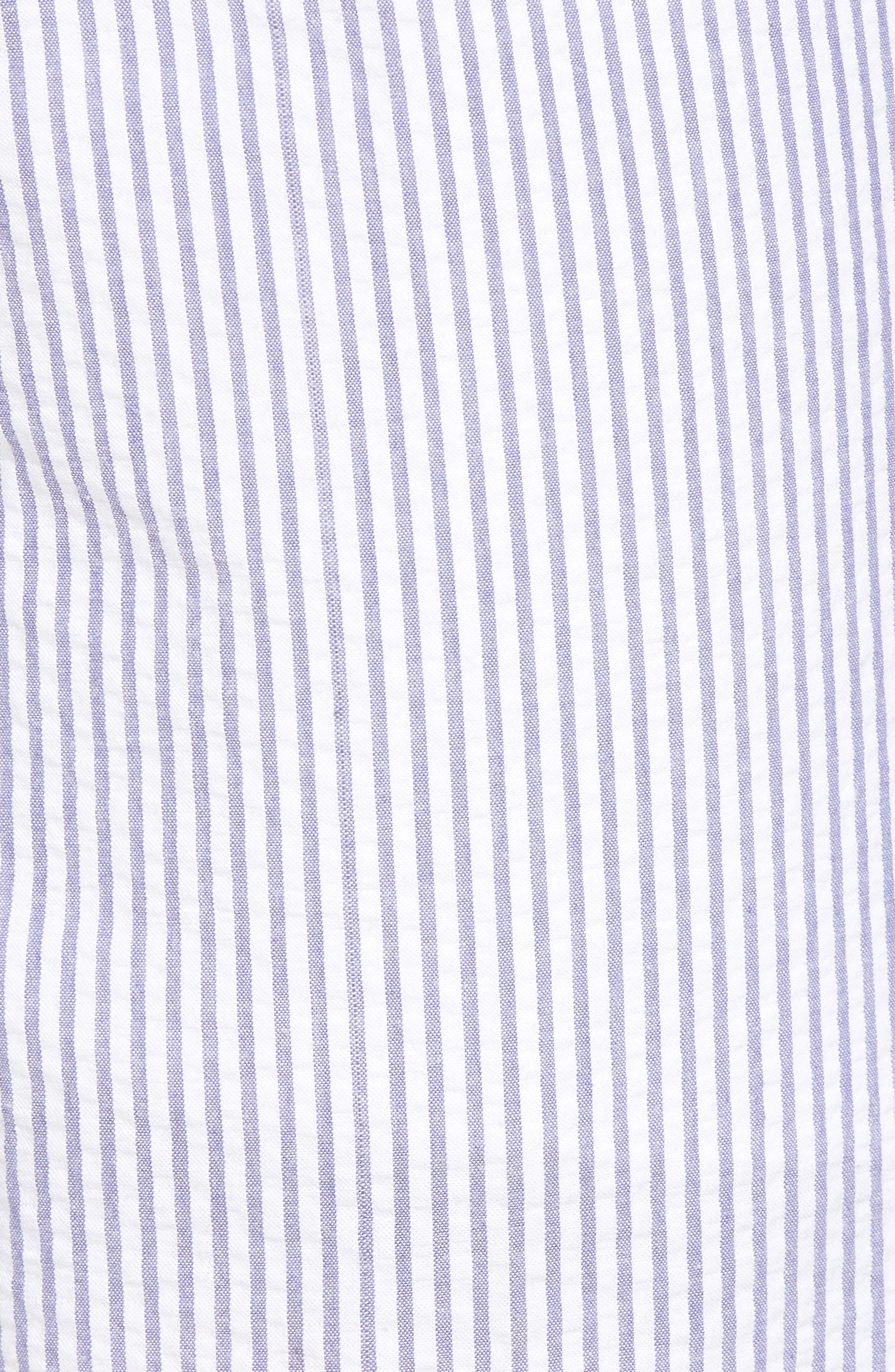 Andrew AIM Flat Front Seersucker Trousers,                             Alternate thumbnail 5, color,                             Blue And White