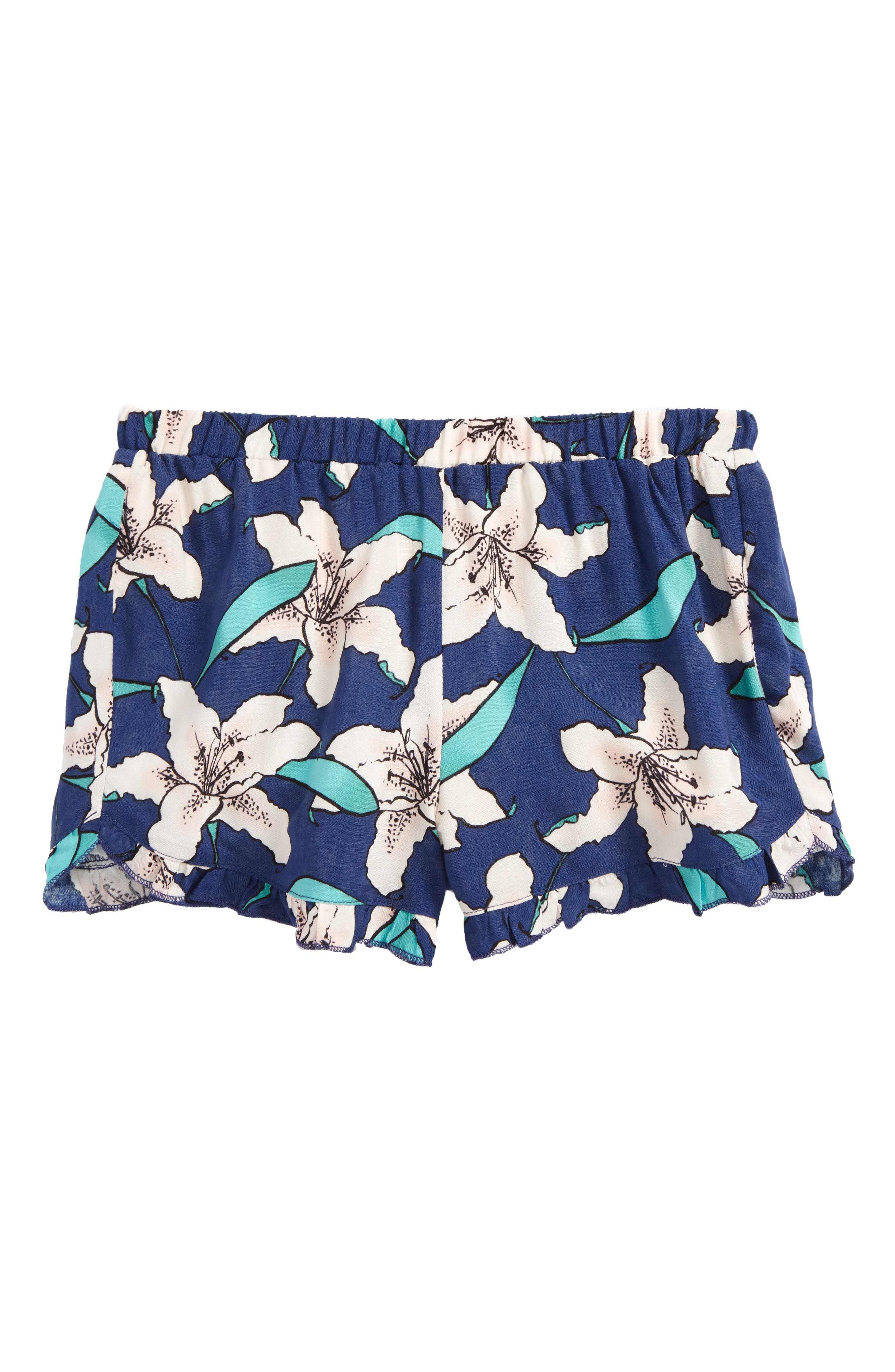 Winnie Floral Shorts,                             Main thumbnail 1, color,                             Estate Blue