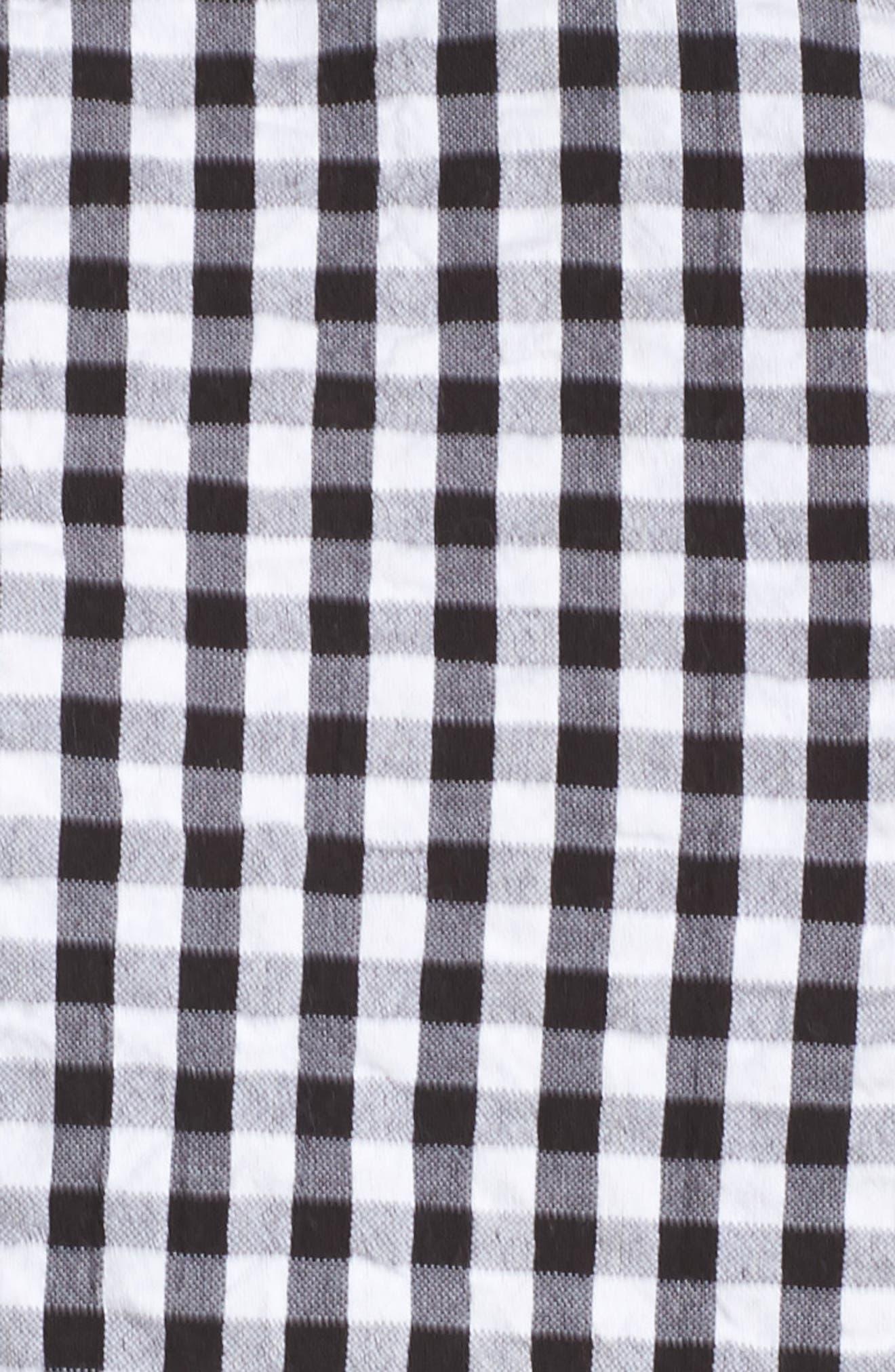 Tassel Tie Neck Tiered Ruffle Tank,                             Alternate thumbnail 6, color,                             Black- White Gingham