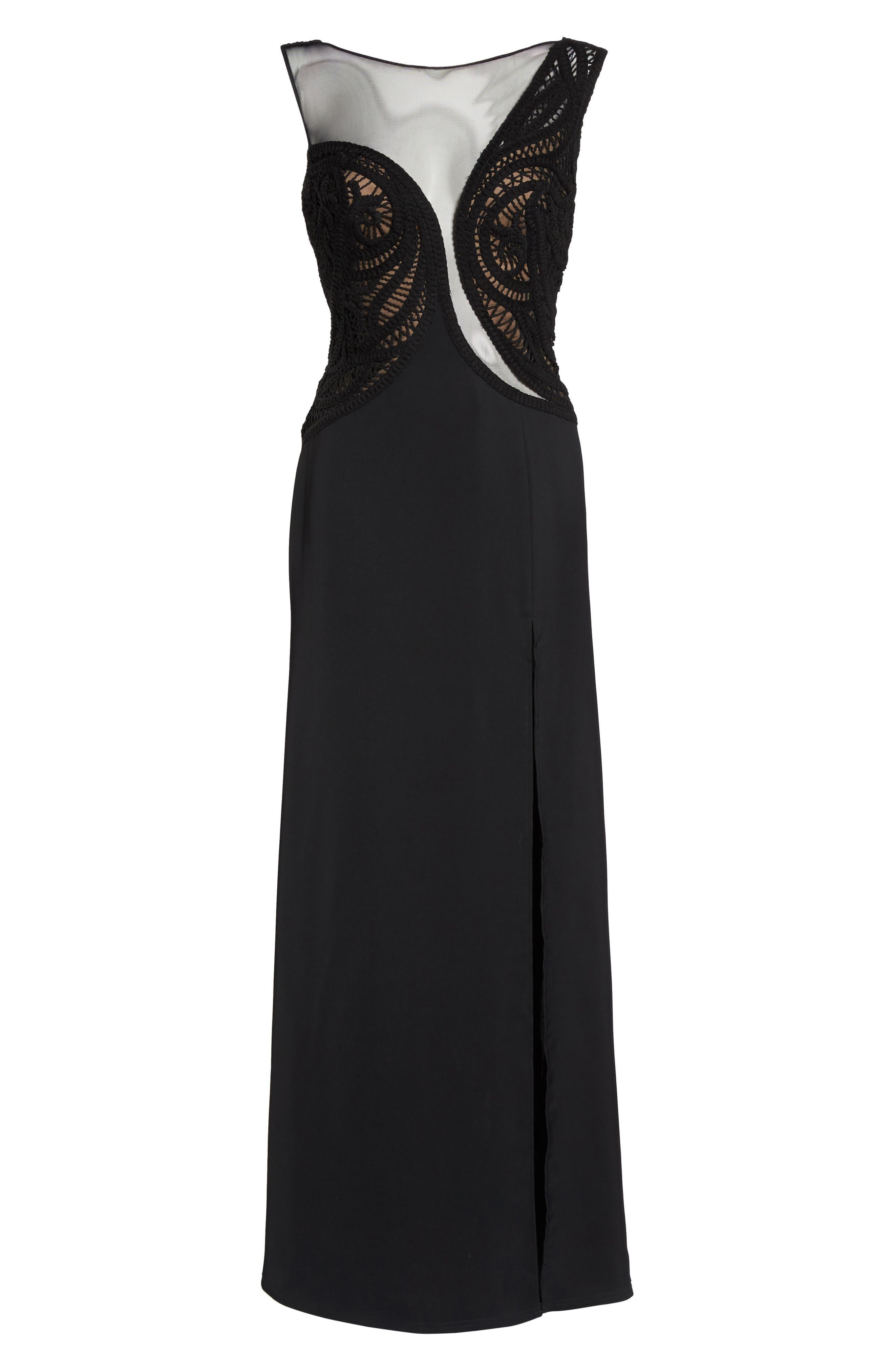 Crochet Lace Gown,                             Alternate thumbnail 6, color,                             Black/ Nude