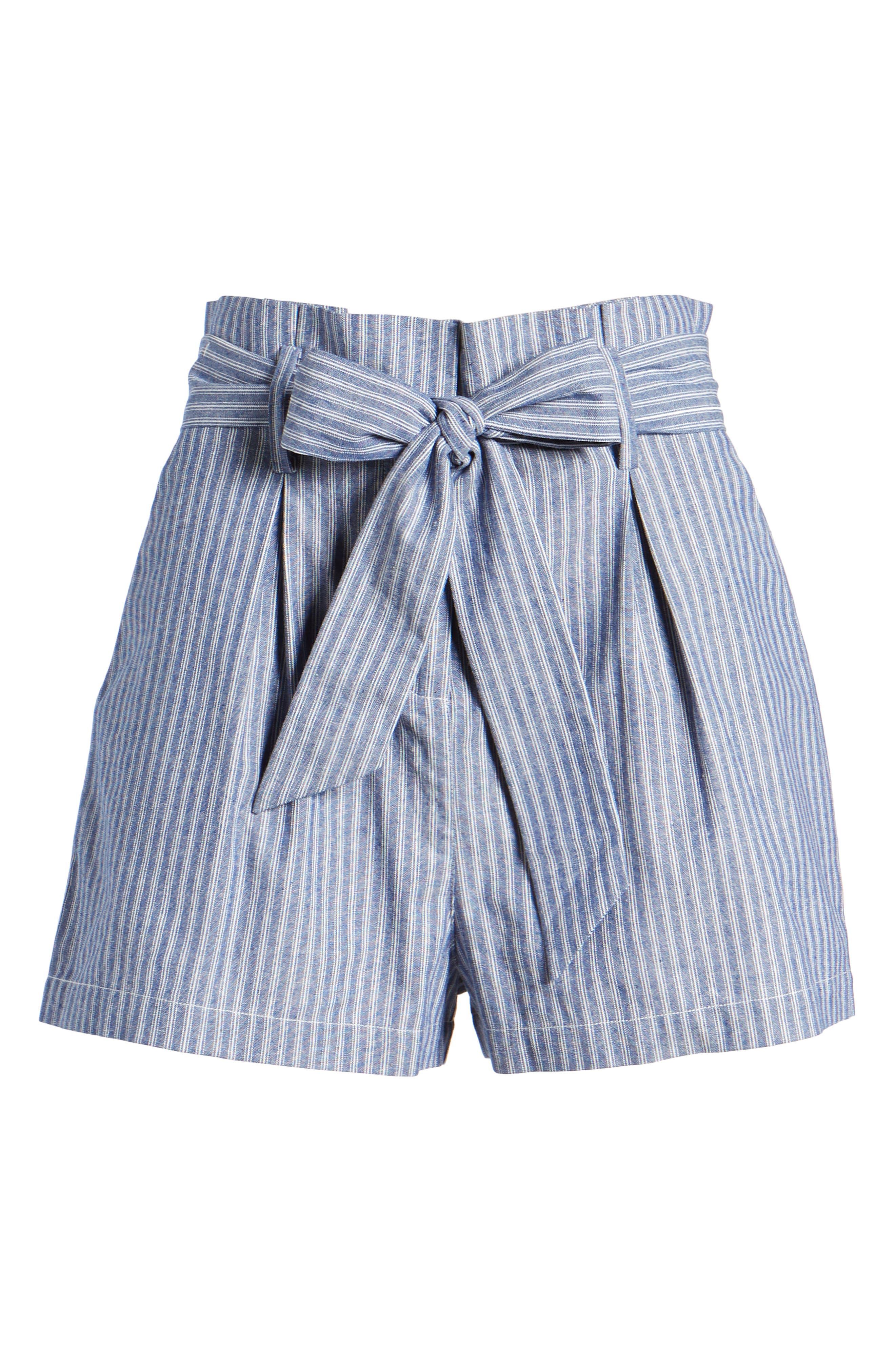 Paperbag Waist Stripe Shorts,                             Alternate thumbnail 6, color,                             Chambray Blue