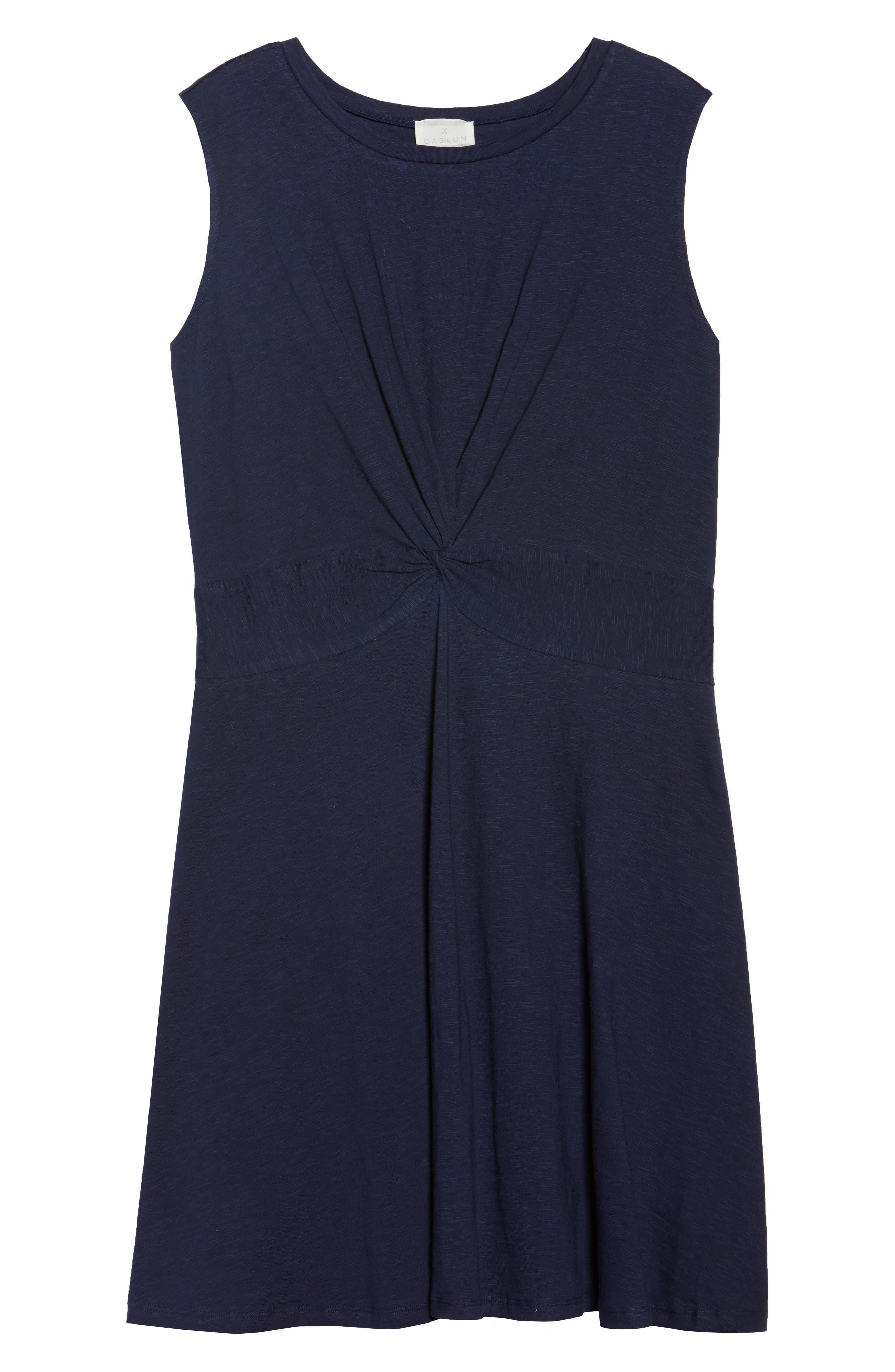 Twist Front Knit Dress,                             Alternate thumbnail 6, color,                             Navy Peacoat