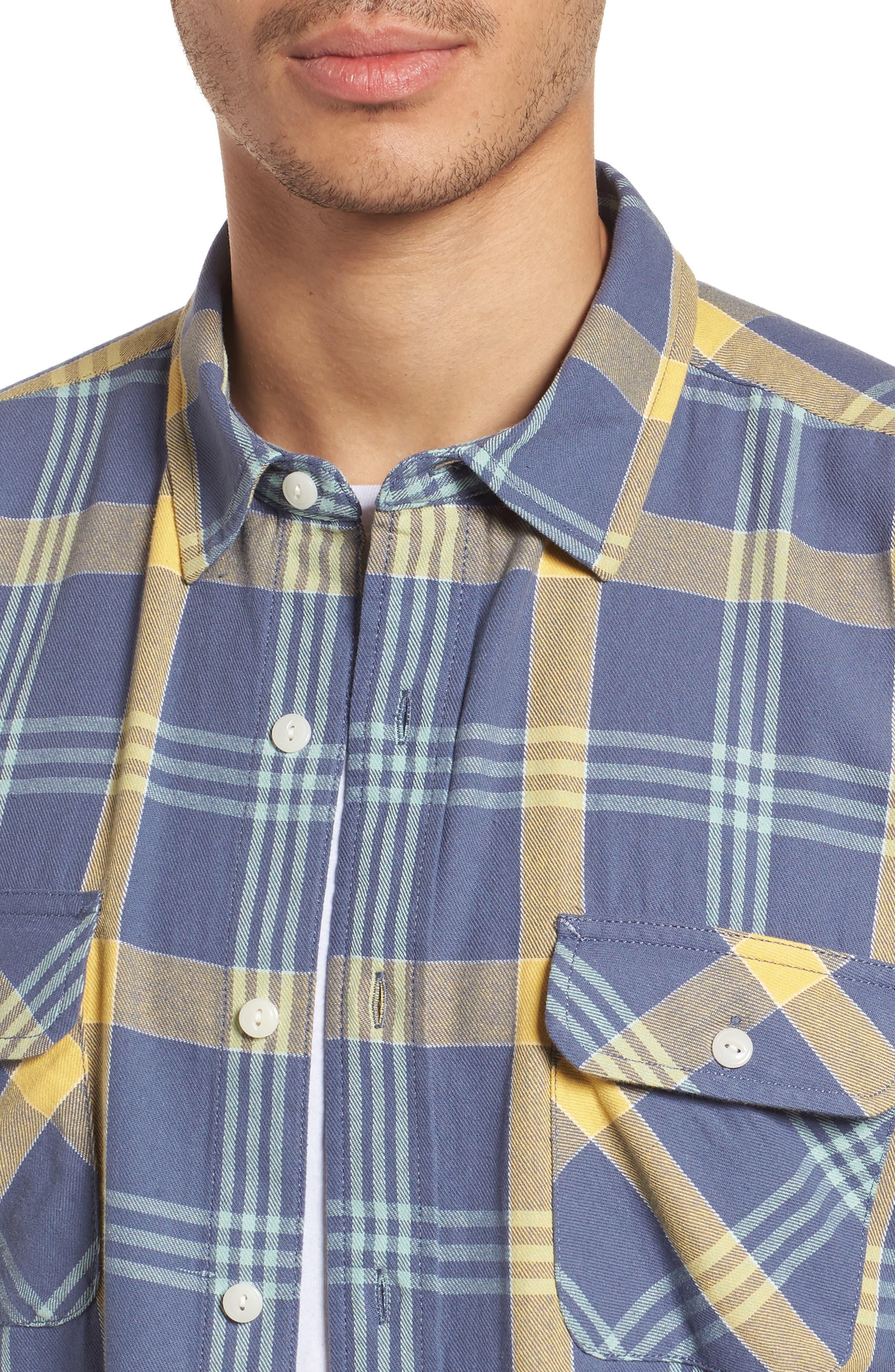 Beach Shack Twill Shirt,                             Alternate thumbnail 4, color,                             65310 Indigo/Orche Plaid