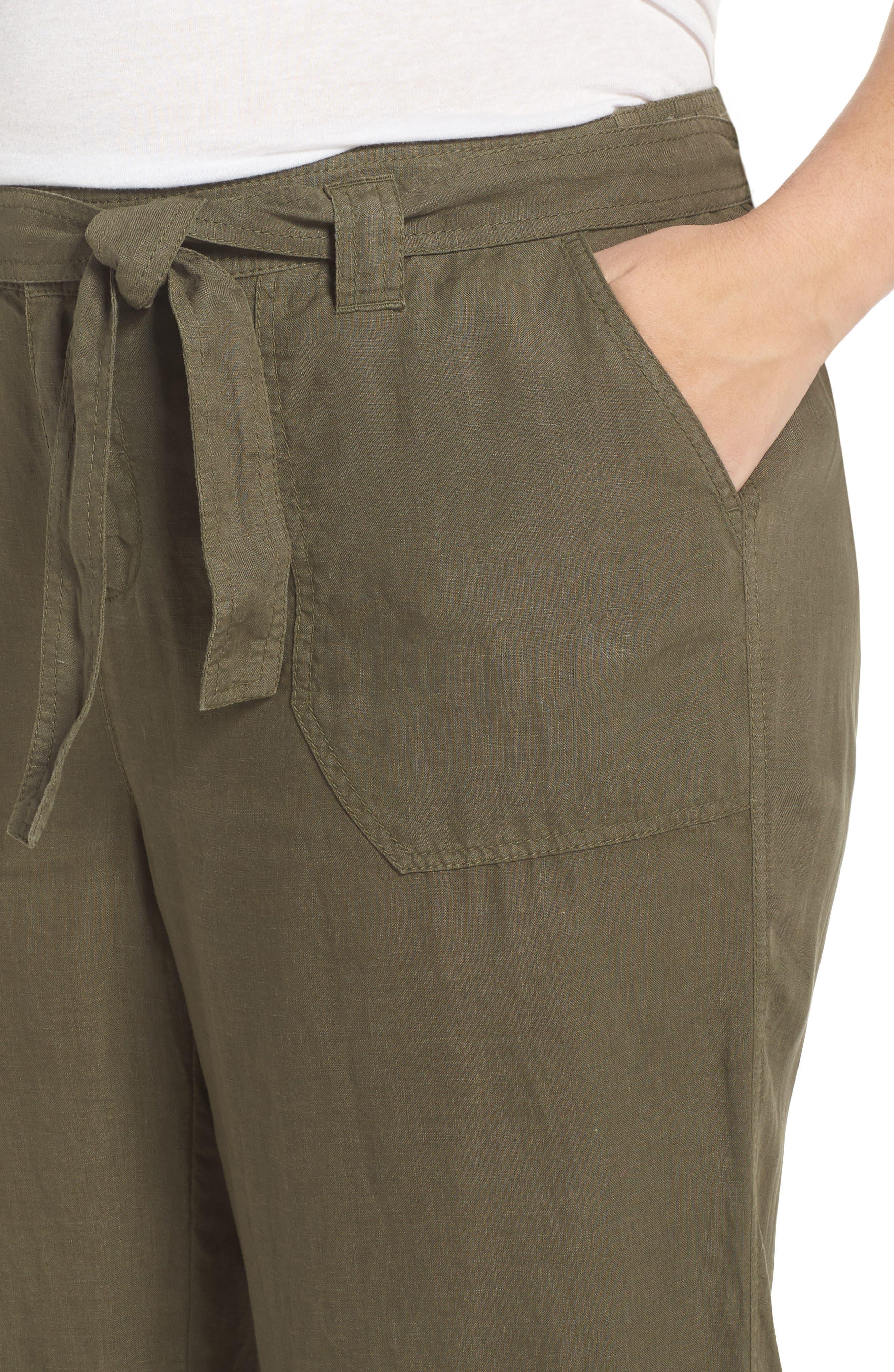 Wide Leg Crop Linen Pants,                             Alternate thumbnail 4, color,                             Olive Sarma