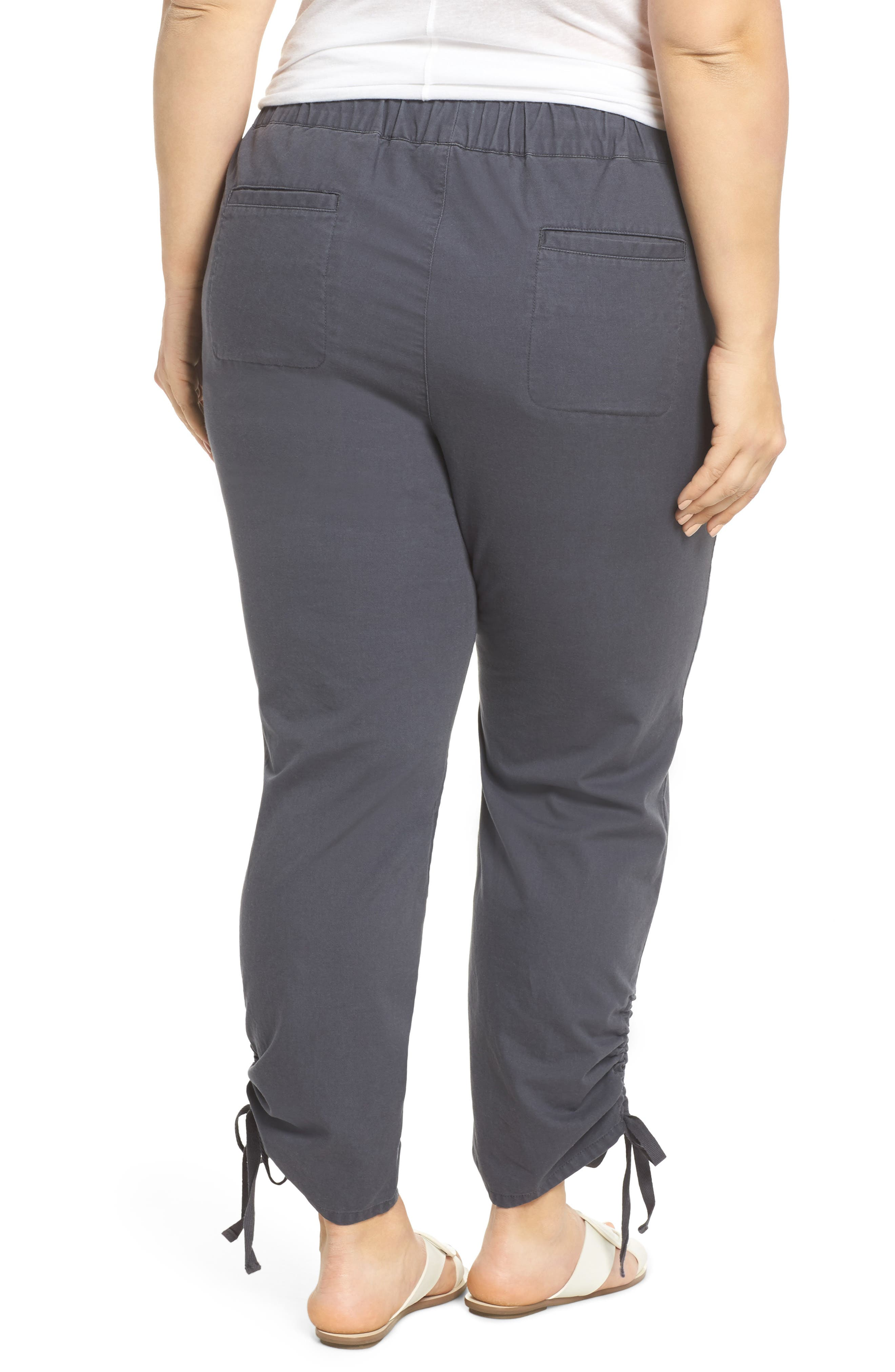 Side Ruched Ankle Pants,                             Alternate thumbnail 2, color,                             Grey Ebony