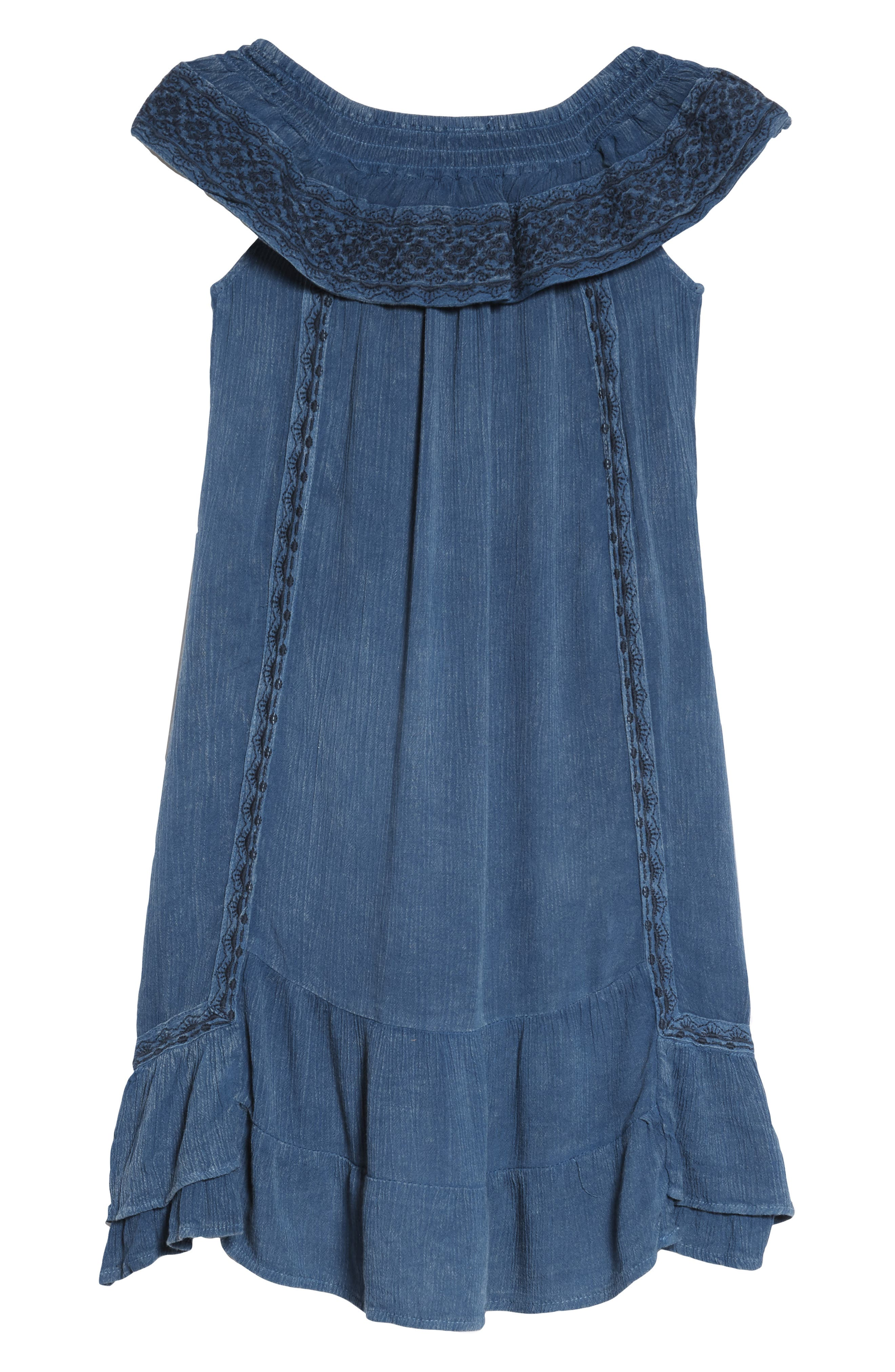 Gavin Embroidered Ruffle Cover-Up Dress,                         Main,                         color, Denim
