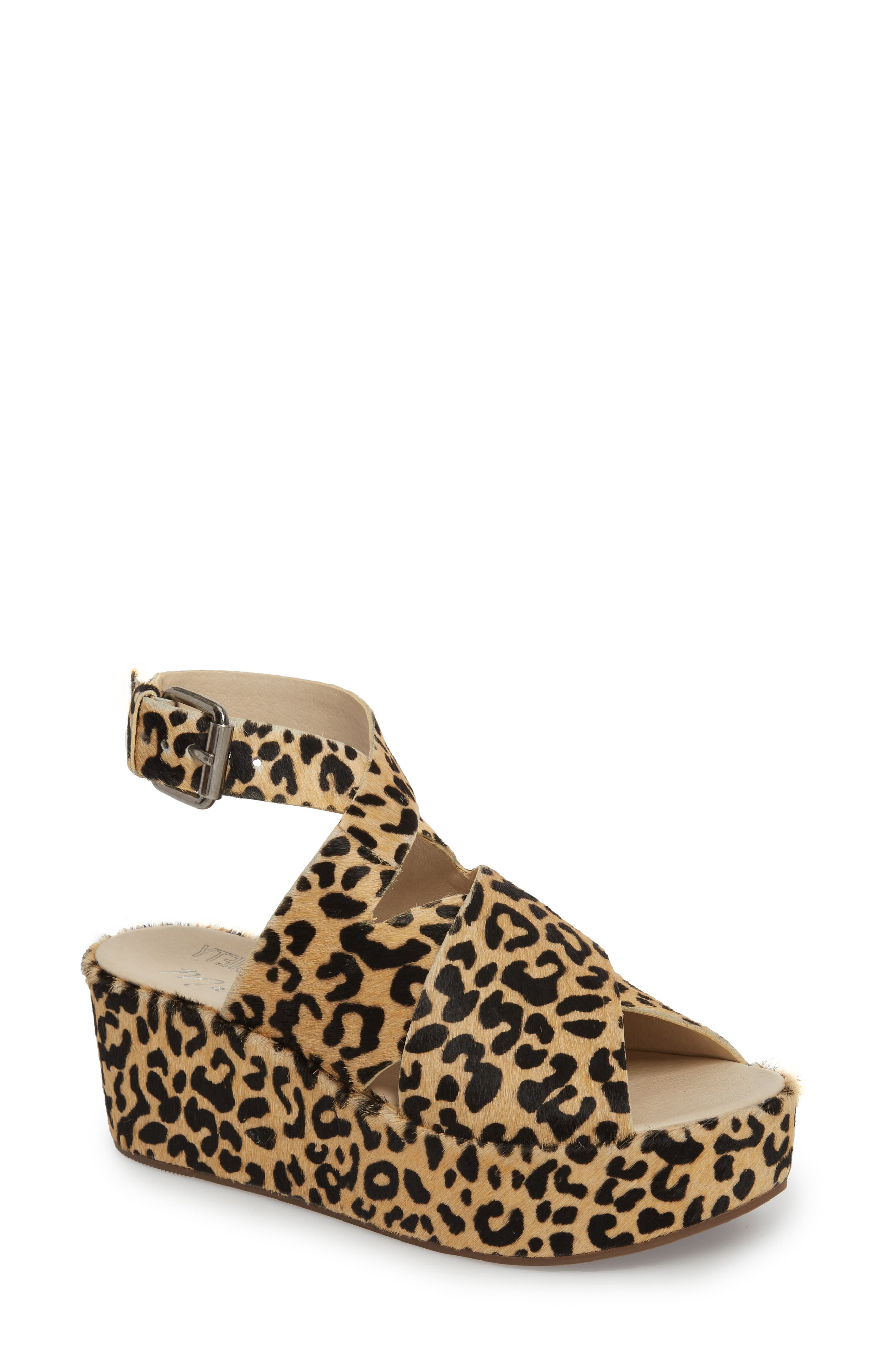Runway Wedge Sandal,                             Main thumbnail 1, color,                             Leopard Calf Hair