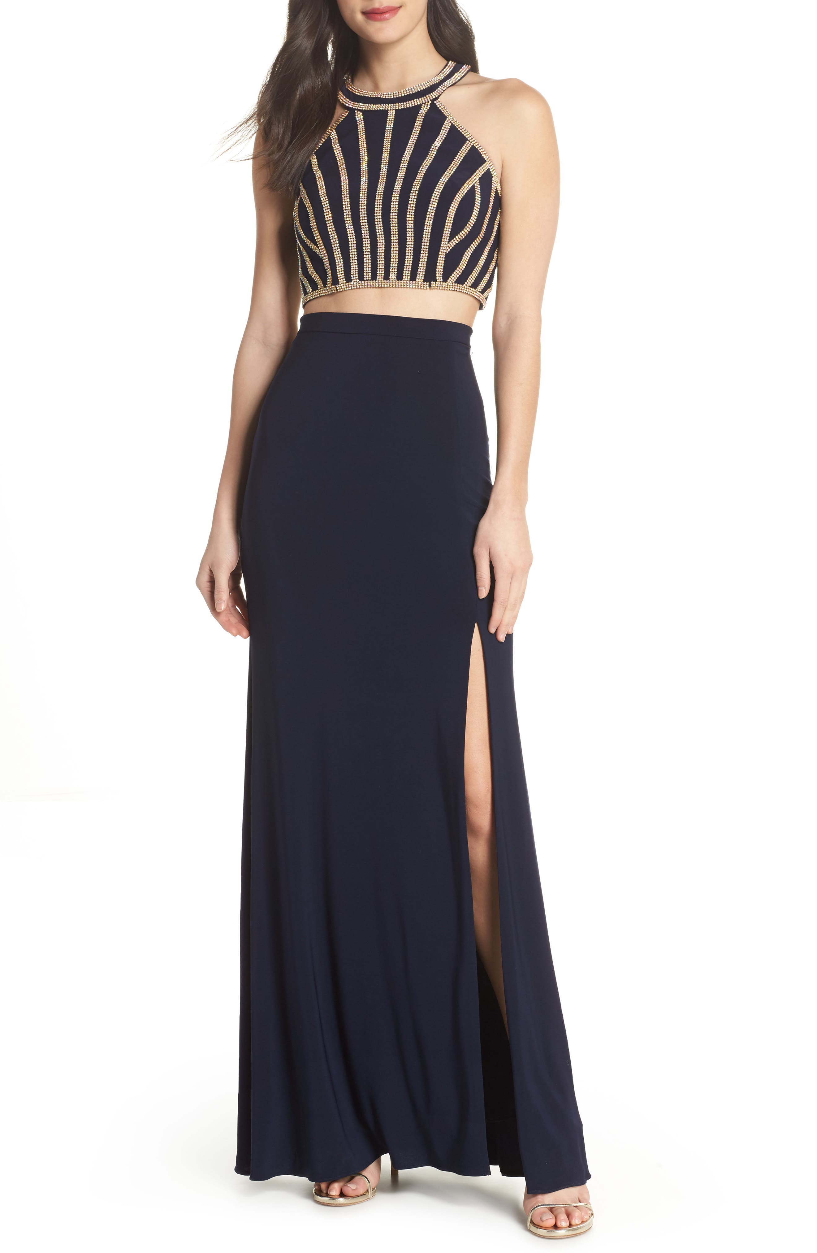 Beaded Top Two-Piece Dress,                         Main,                         color, Navy/ Gold