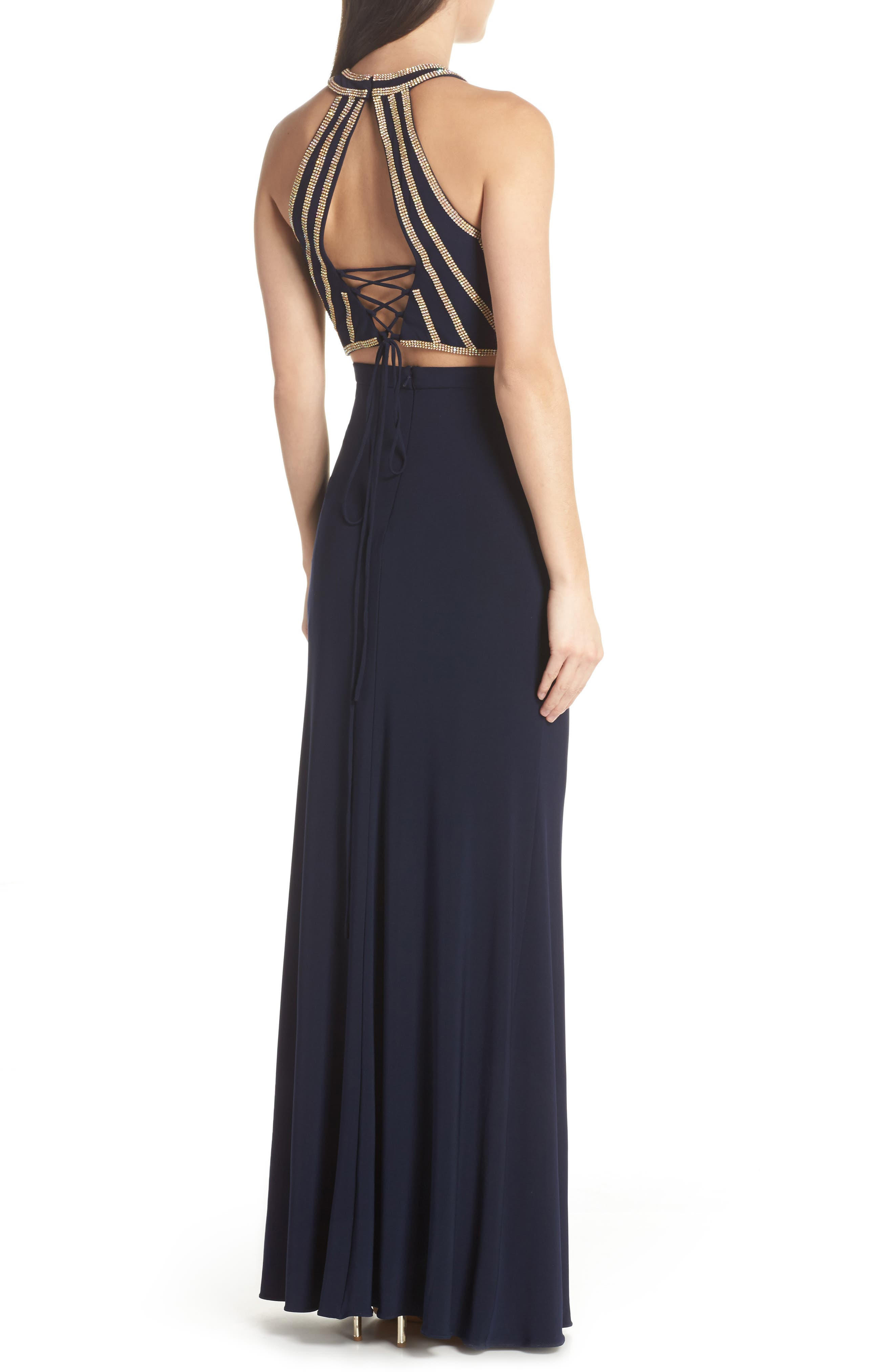Beaded Top Two-Piece Dress,                             Alternate thumbnail 2, color,                             Navy/ Gold