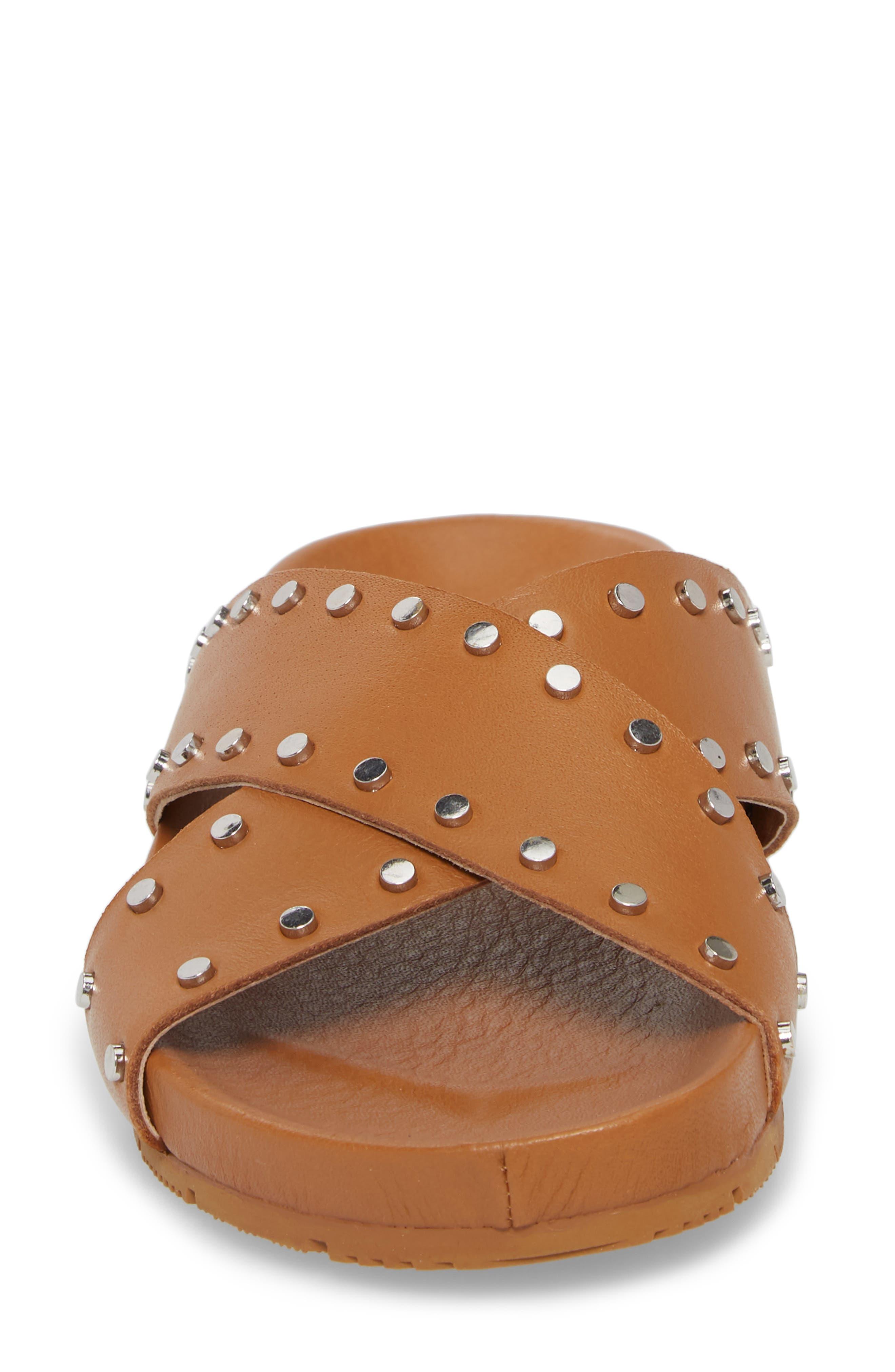 Ellie Studded Slide Sandal,                             Alternate thumbnail 4, color,                             Tan Leather