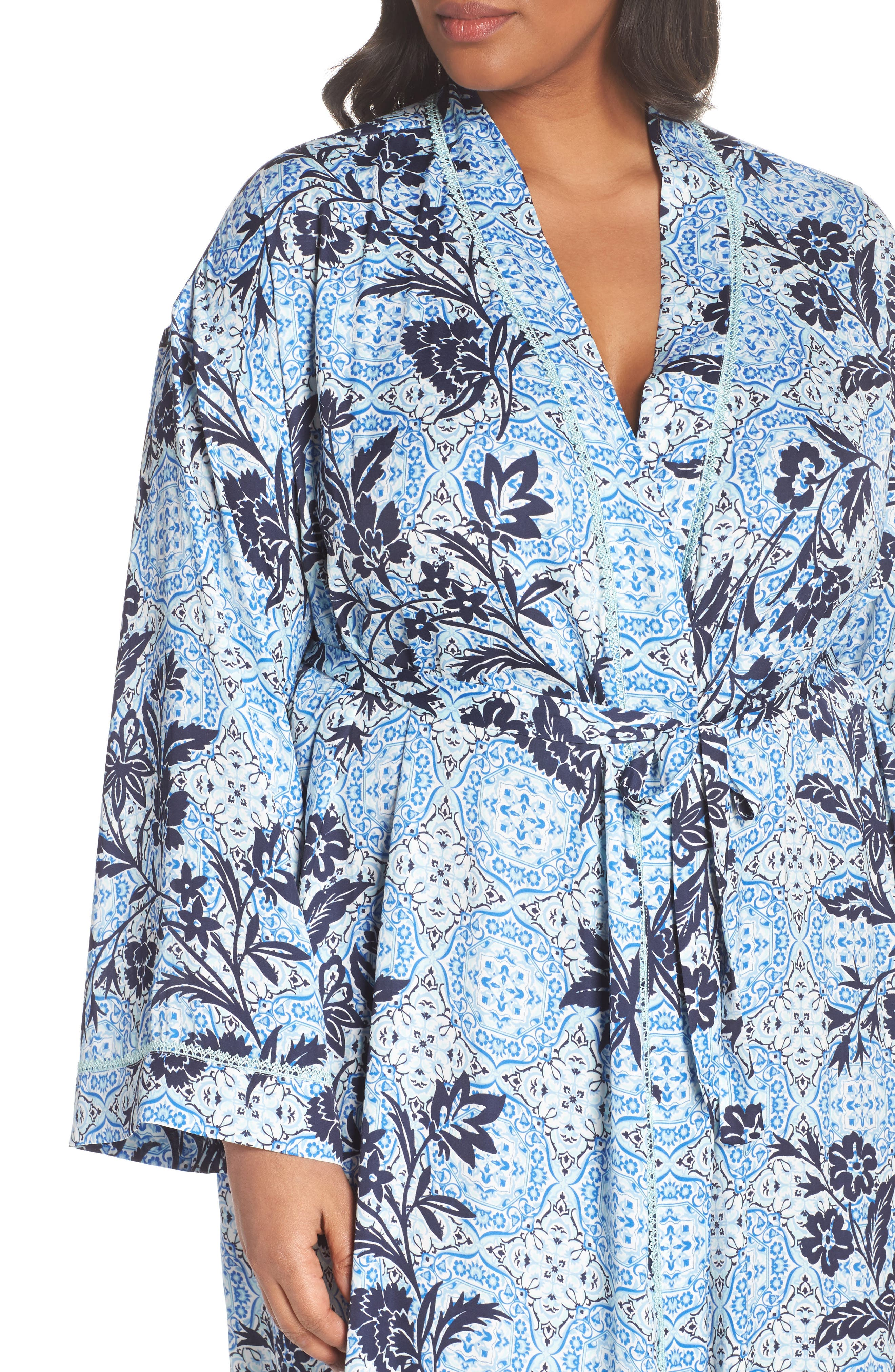Sweet Dreams Satin Robe,                             Alternate thumbnail 4, color,                             Blue Palace Tile Floral