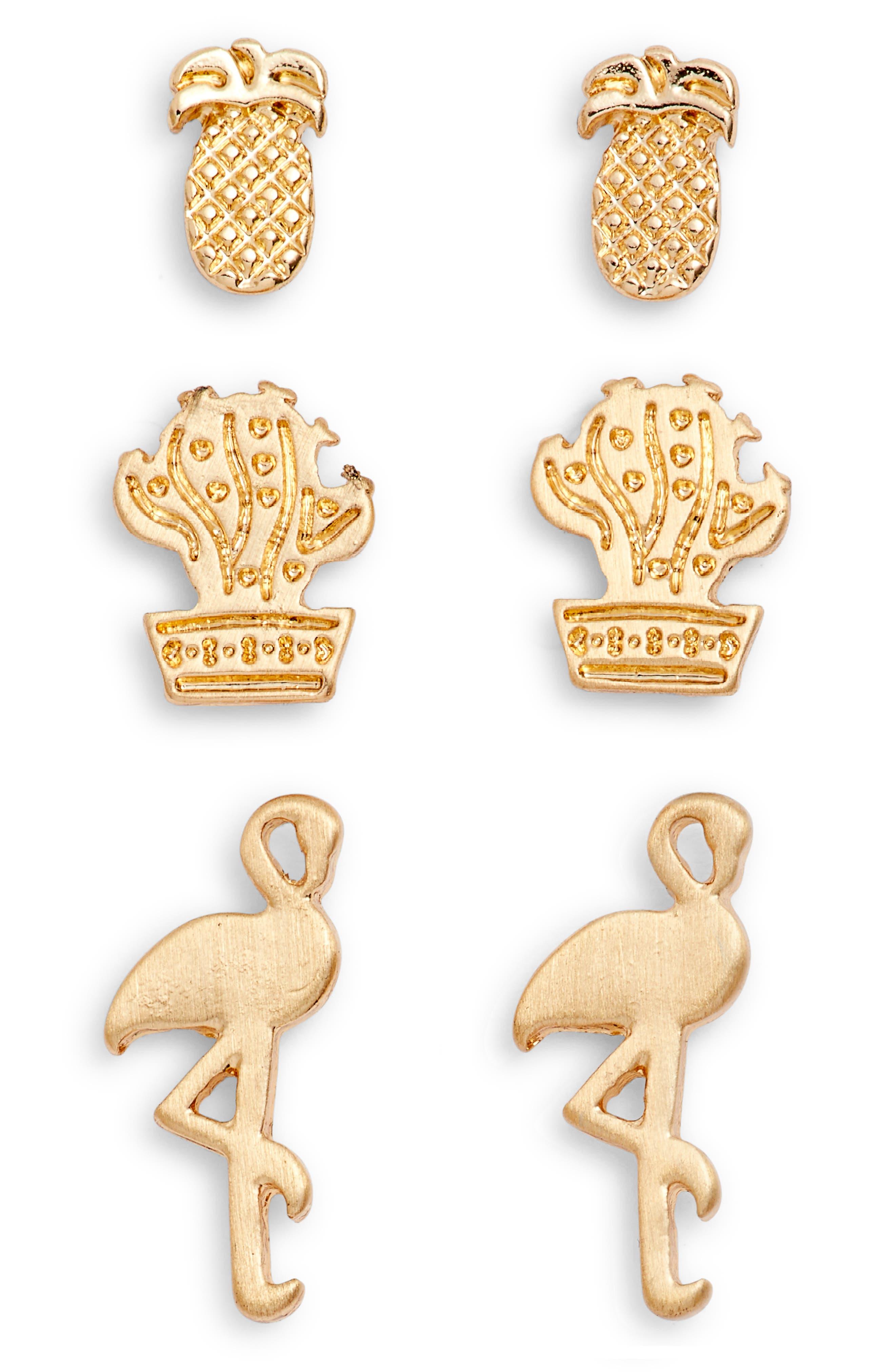 Loren Olivia Tropical 3-Pack Assorted Stud Earrings