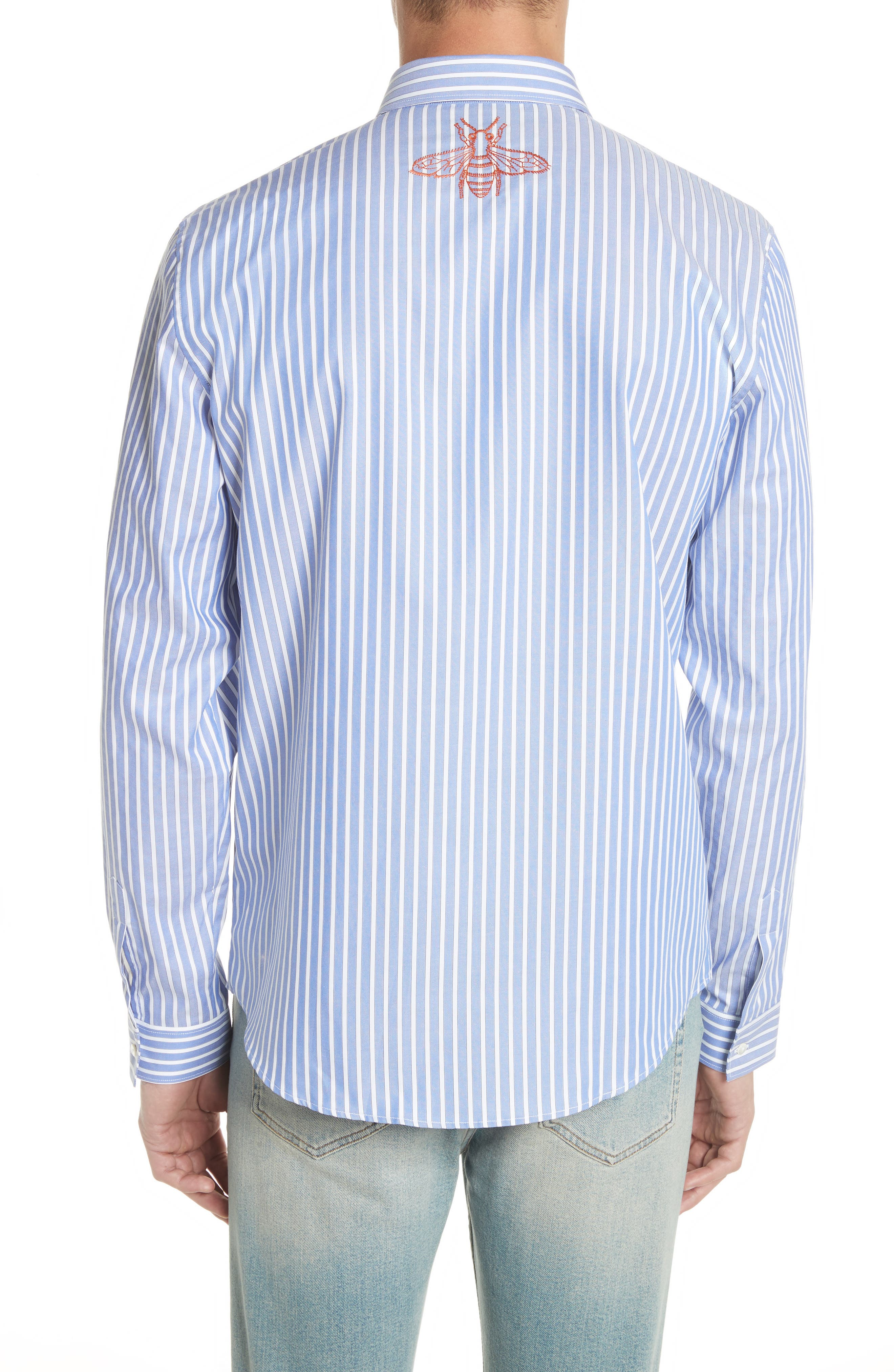 Bee Embroidered Stripe Dress Shirt,                             Alternate thumbnail 3, color,                             4869 Blue