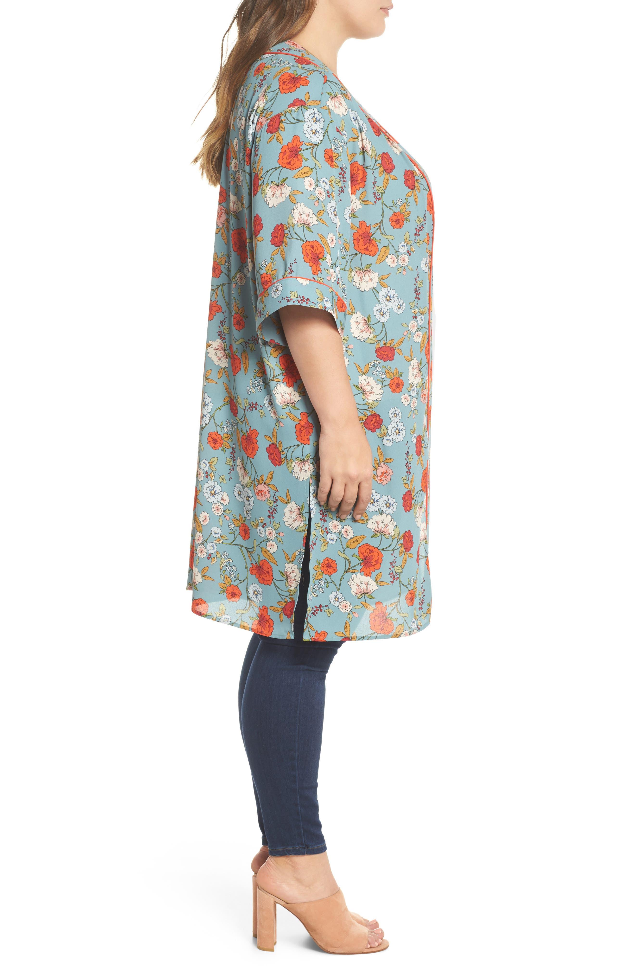 Floral Kimono,                             Alternate thumbnail 3, color,                             D598n Basil