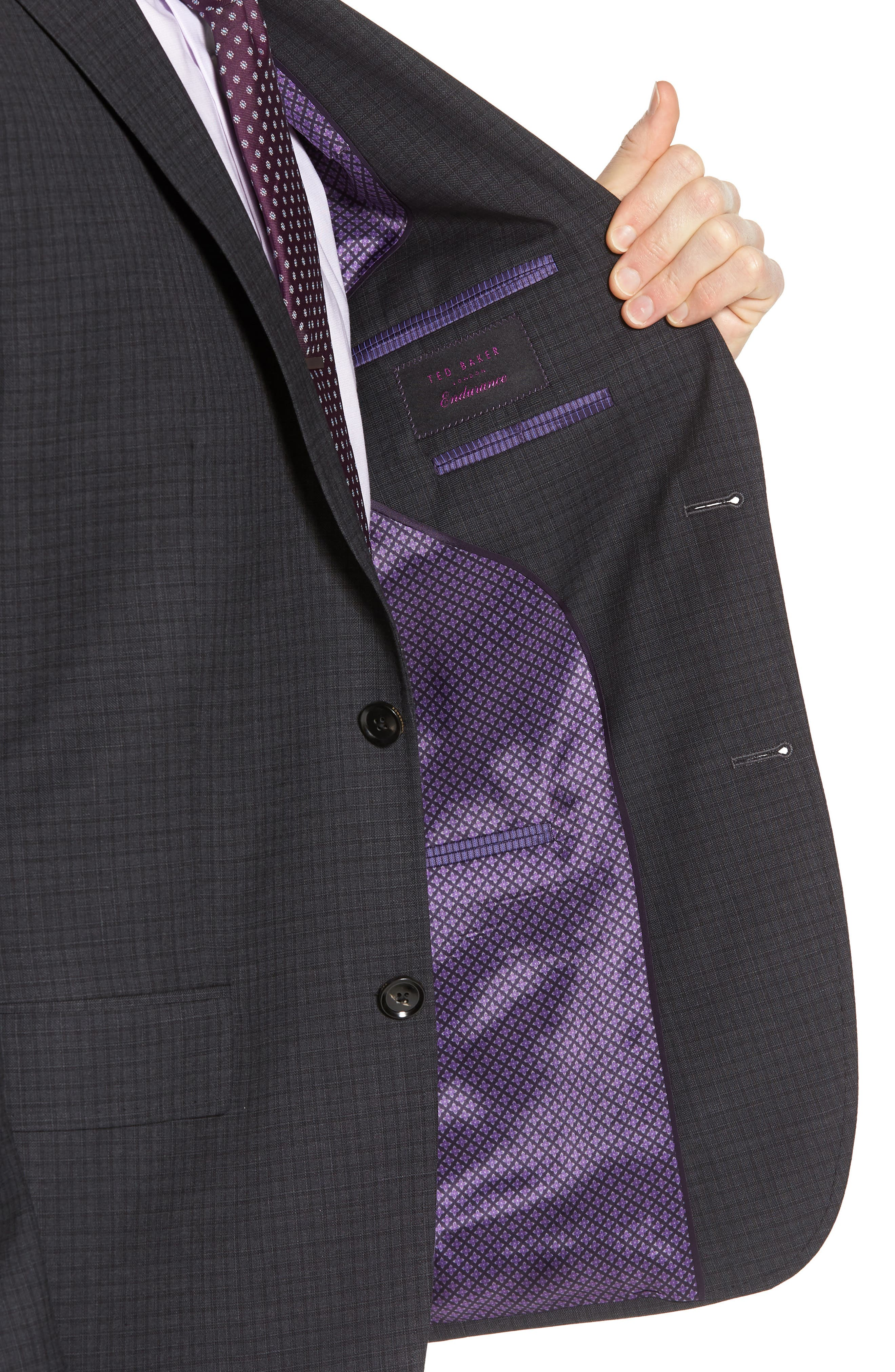 Jay Trim Fit Check Wool Suit,                             Alternate thumbnail 4, color,                             Charcoal