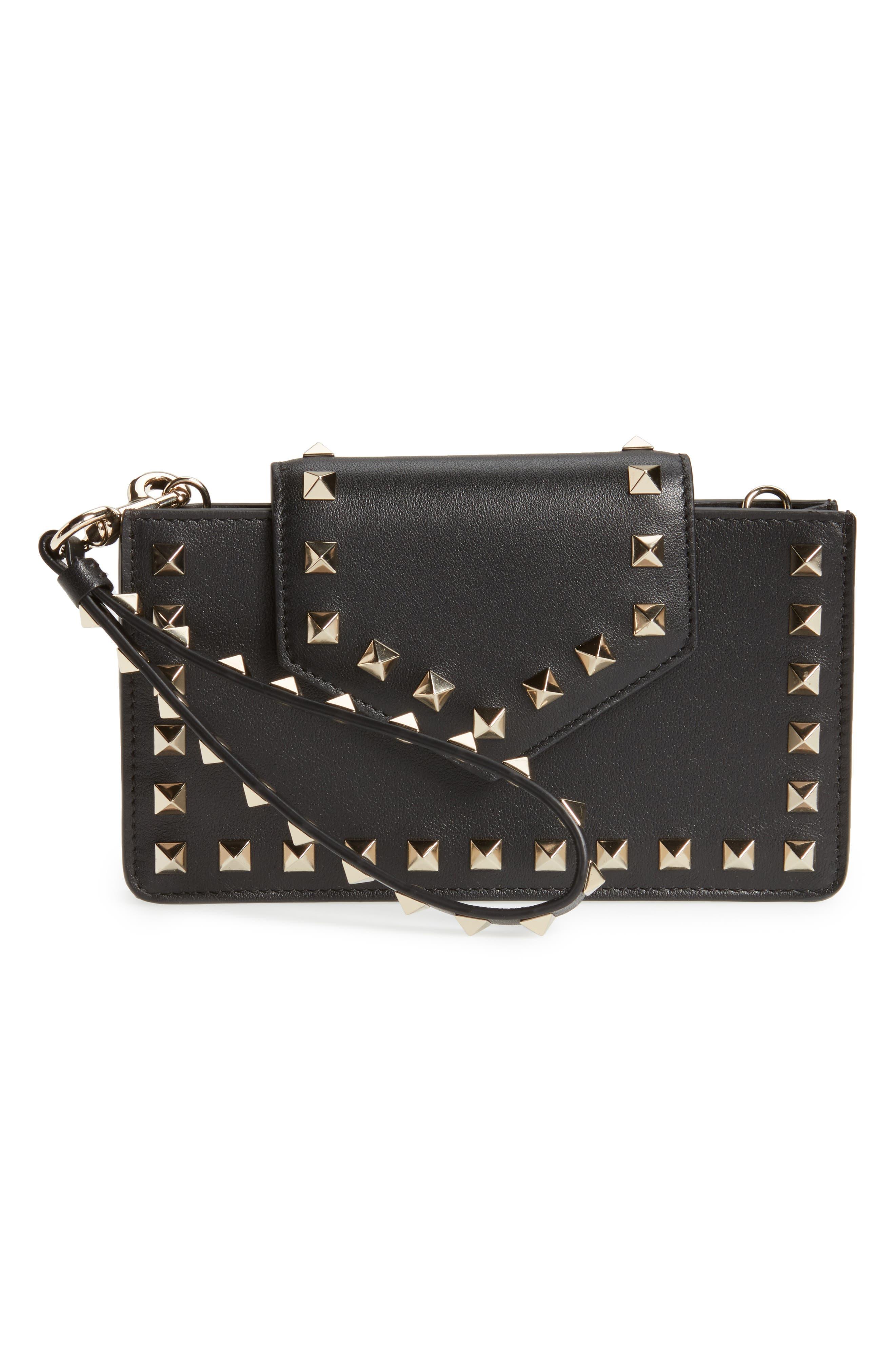 Rockstud Leather Smartphone Wallet,                         Main,                         color, Black