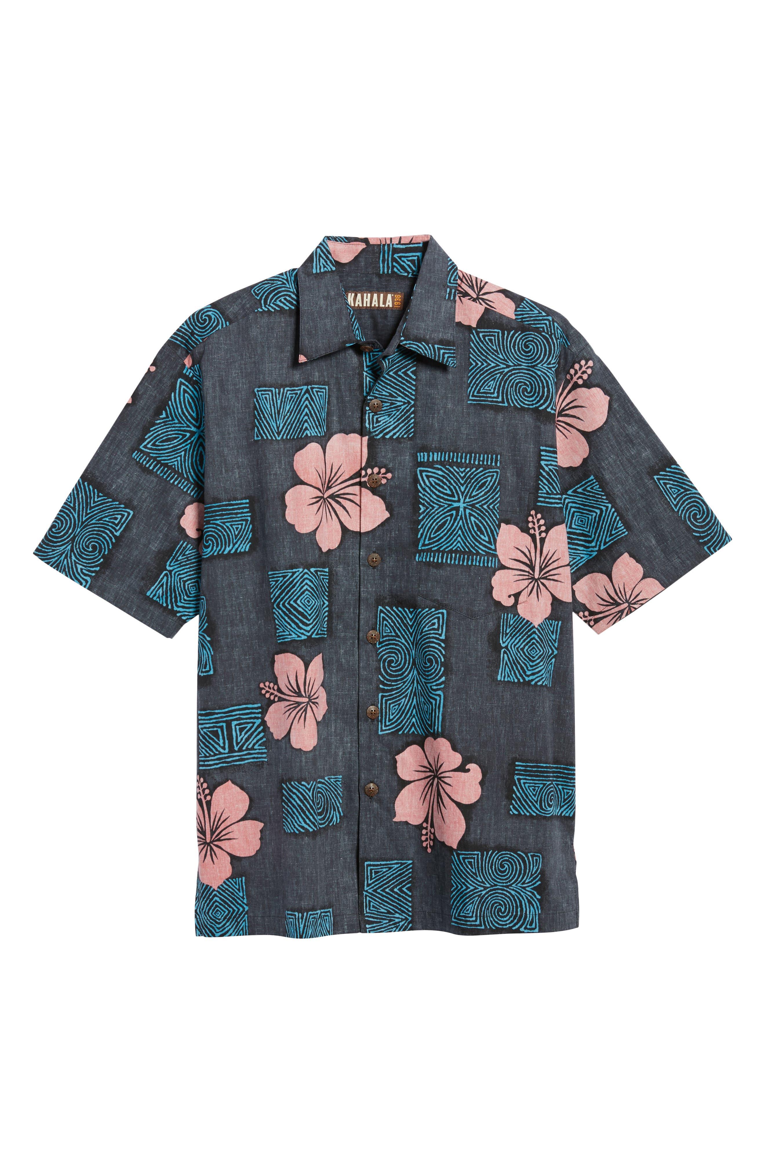 Tiki Room Standard Fit Camp Shirt,                             Alternate thumbnail 6, color,                             Black