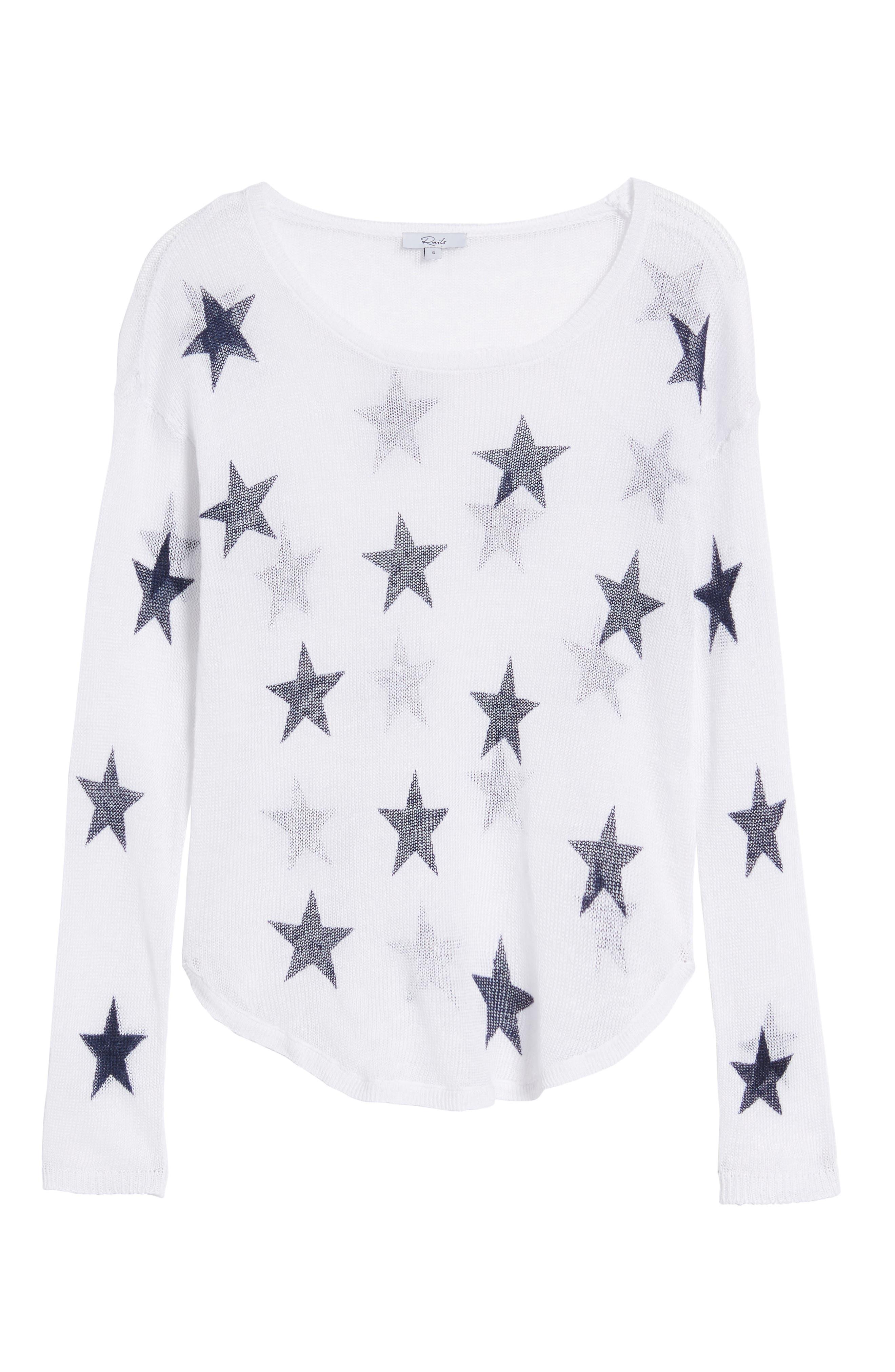 Perri Linen Sweater,                             Alternate thumbnail 7, color,                             White Navy Stars