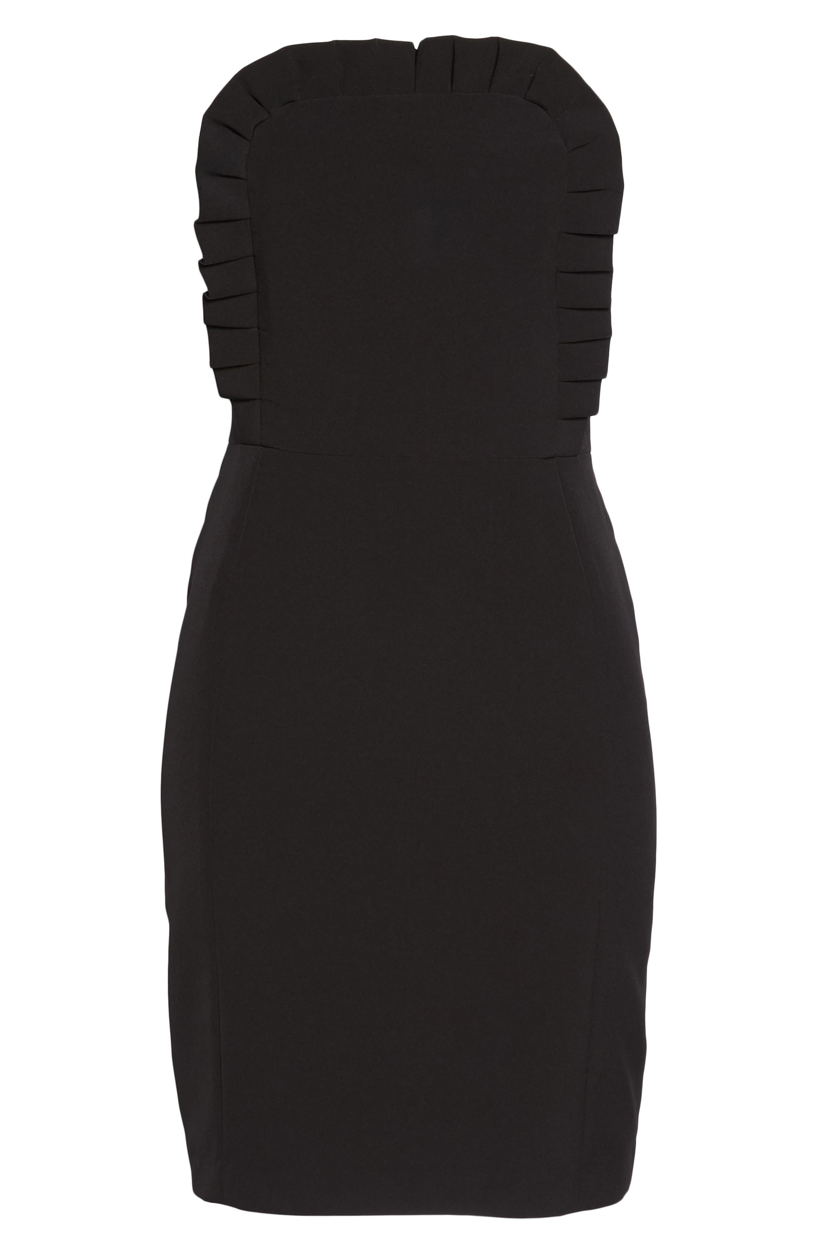 Ruffle Apron Detail Strapless Dress,                             Alternate thumbnail 7, color,                             Black